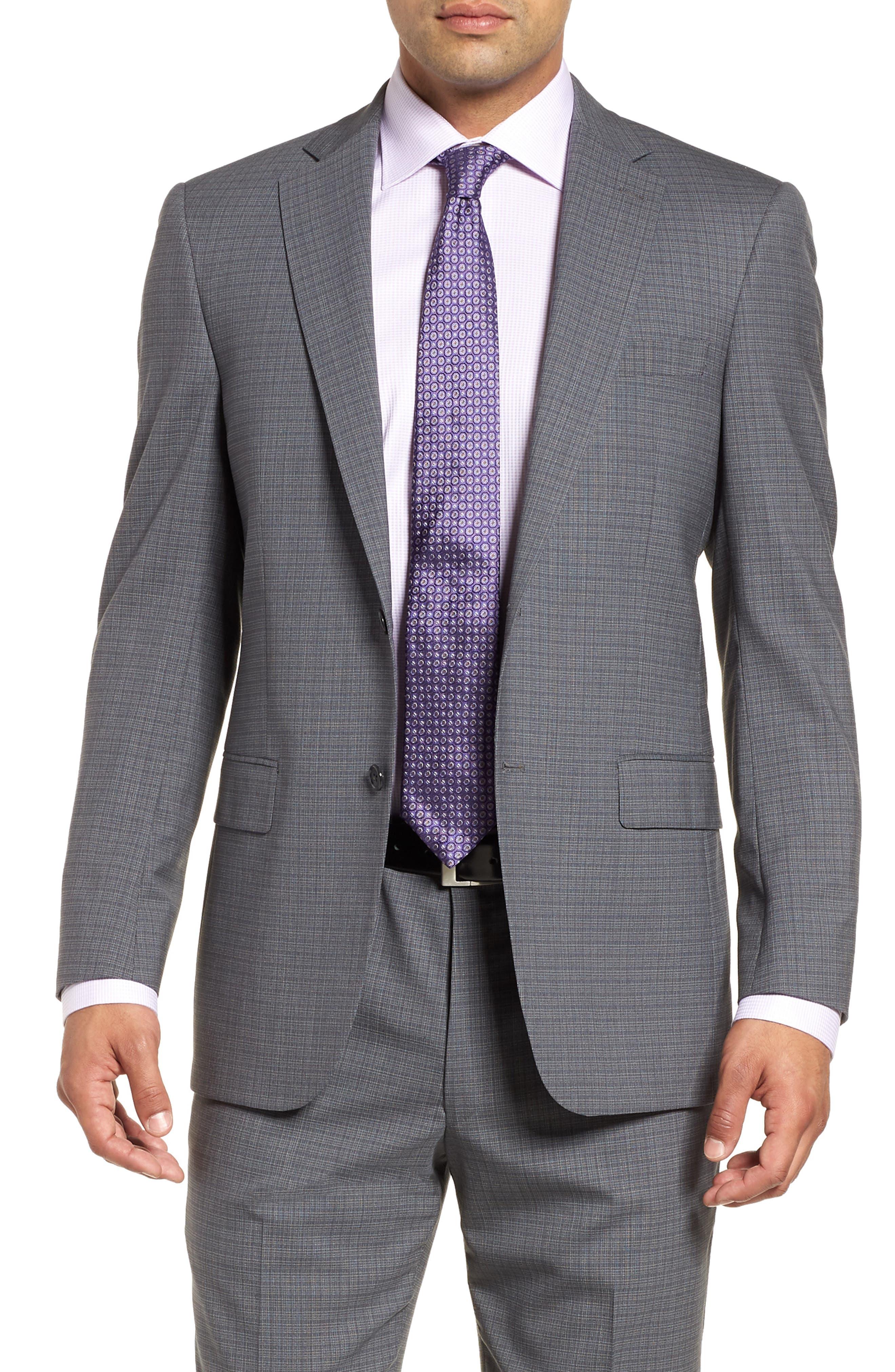 Classic Fit Stretch Plaid Wool Suit,                             Alternate thumbnail 5, color,                             Grey Plaid