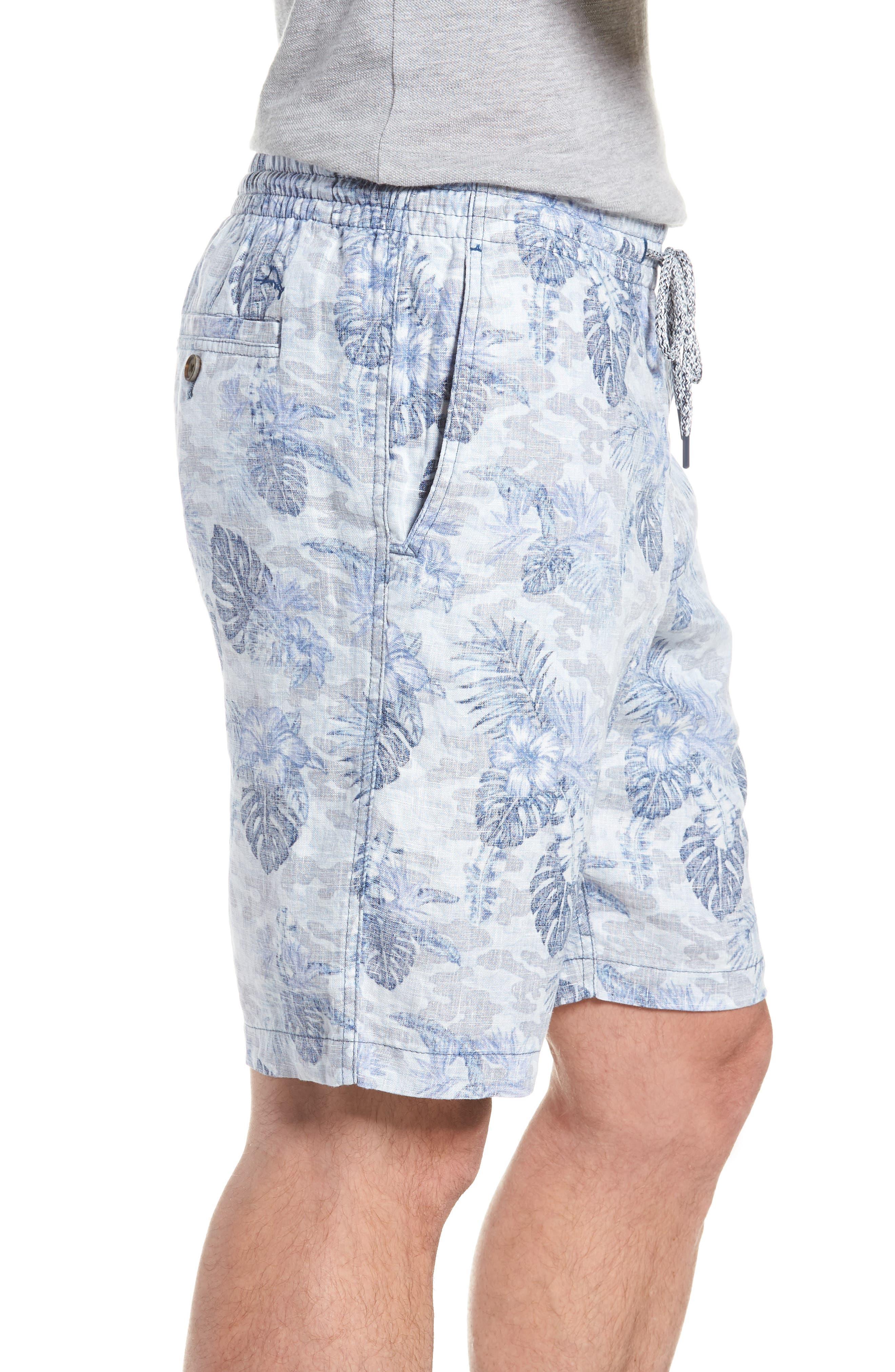 Tidal Palms Linen Shorts,                             Alternate thumbnail 3, color,                             Med Sky Blue