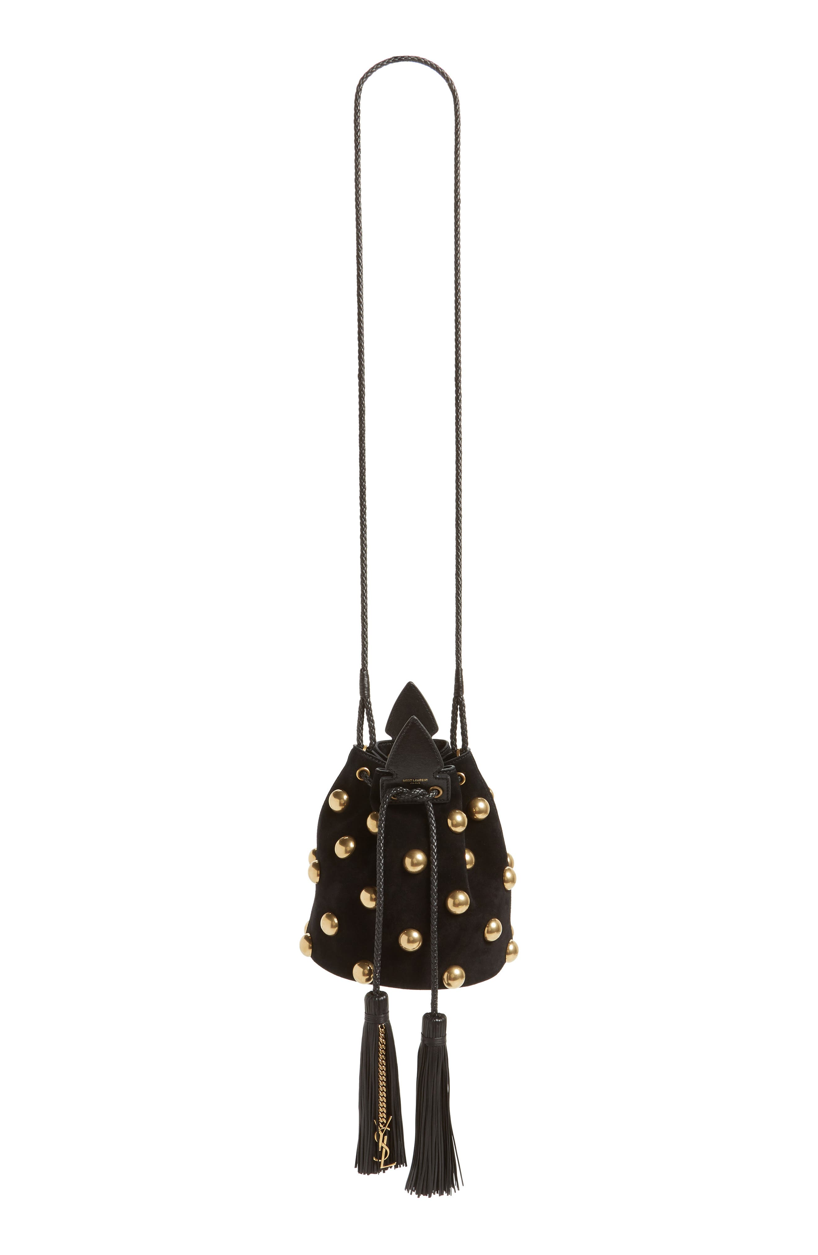 Small Anja Studded Leather Bucket Bag,                             Alternate thumbnail 6, color,                             Nero/ Nero