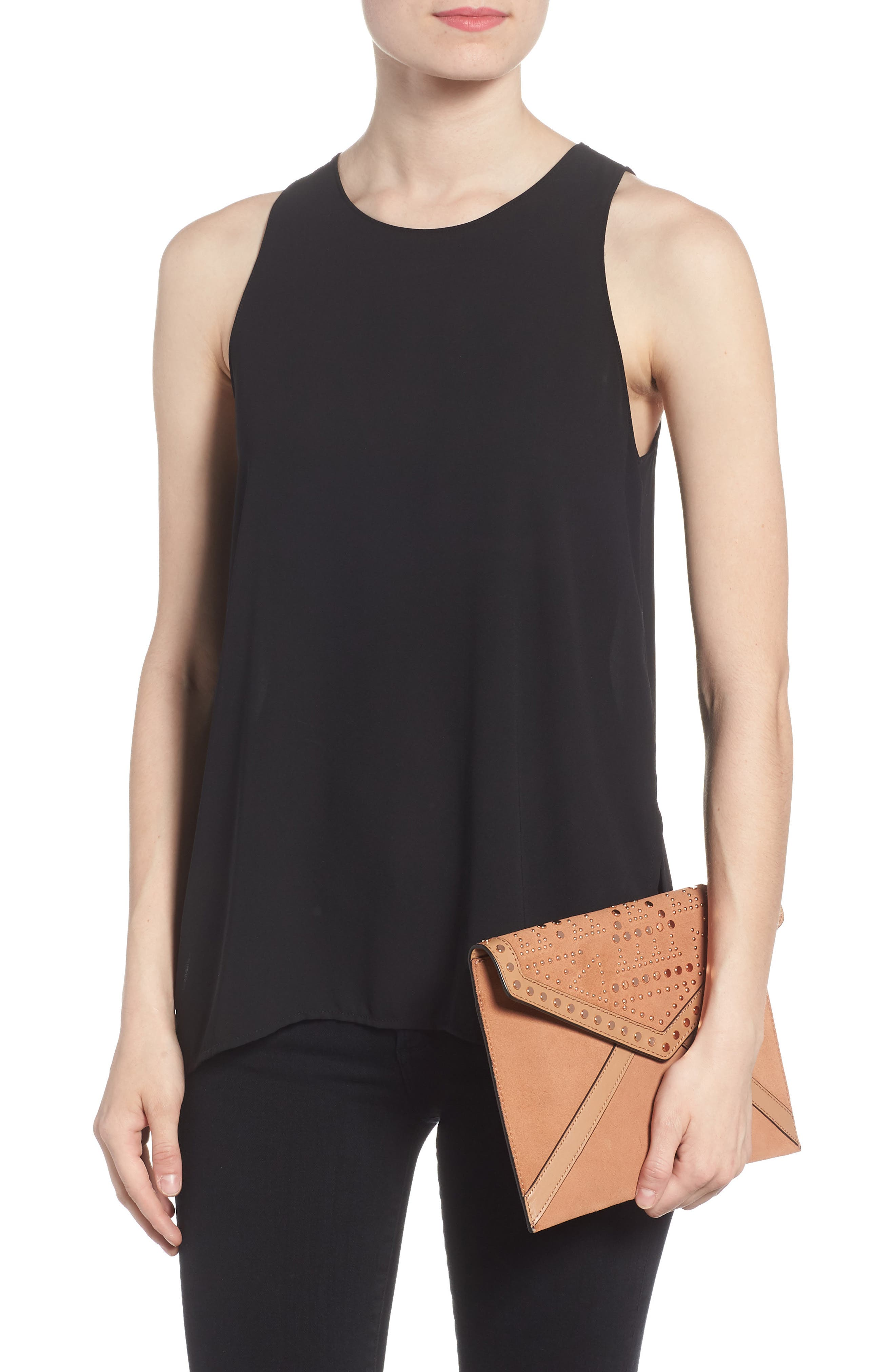 Leo Studded Leather & Suede Clutch,                             Alternate thumbnail 2, color,                             Desert Tan