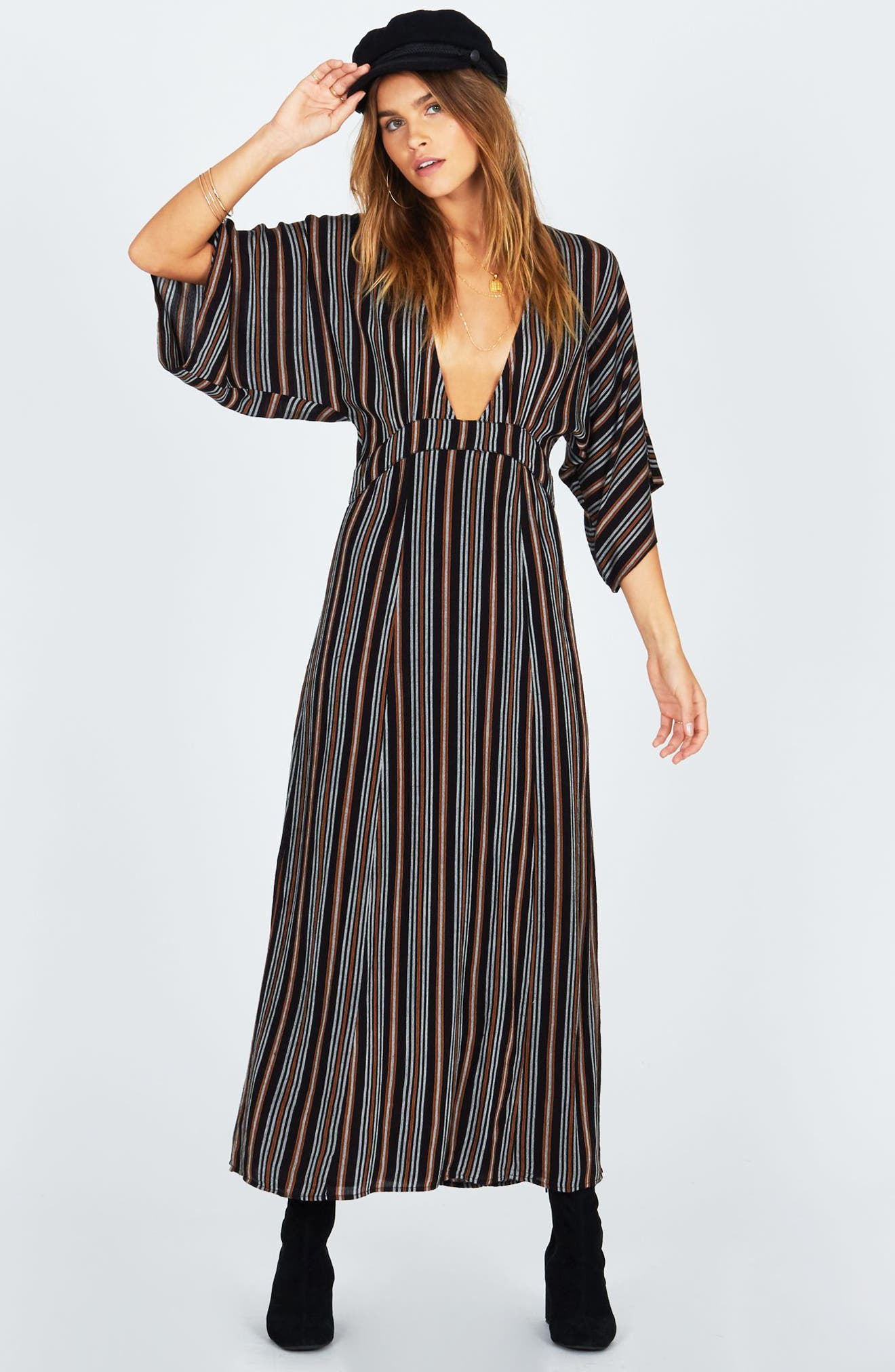 Forever & Day Stripe Maxi Dress,                             Alternate thumbnail 2, color,                             Black