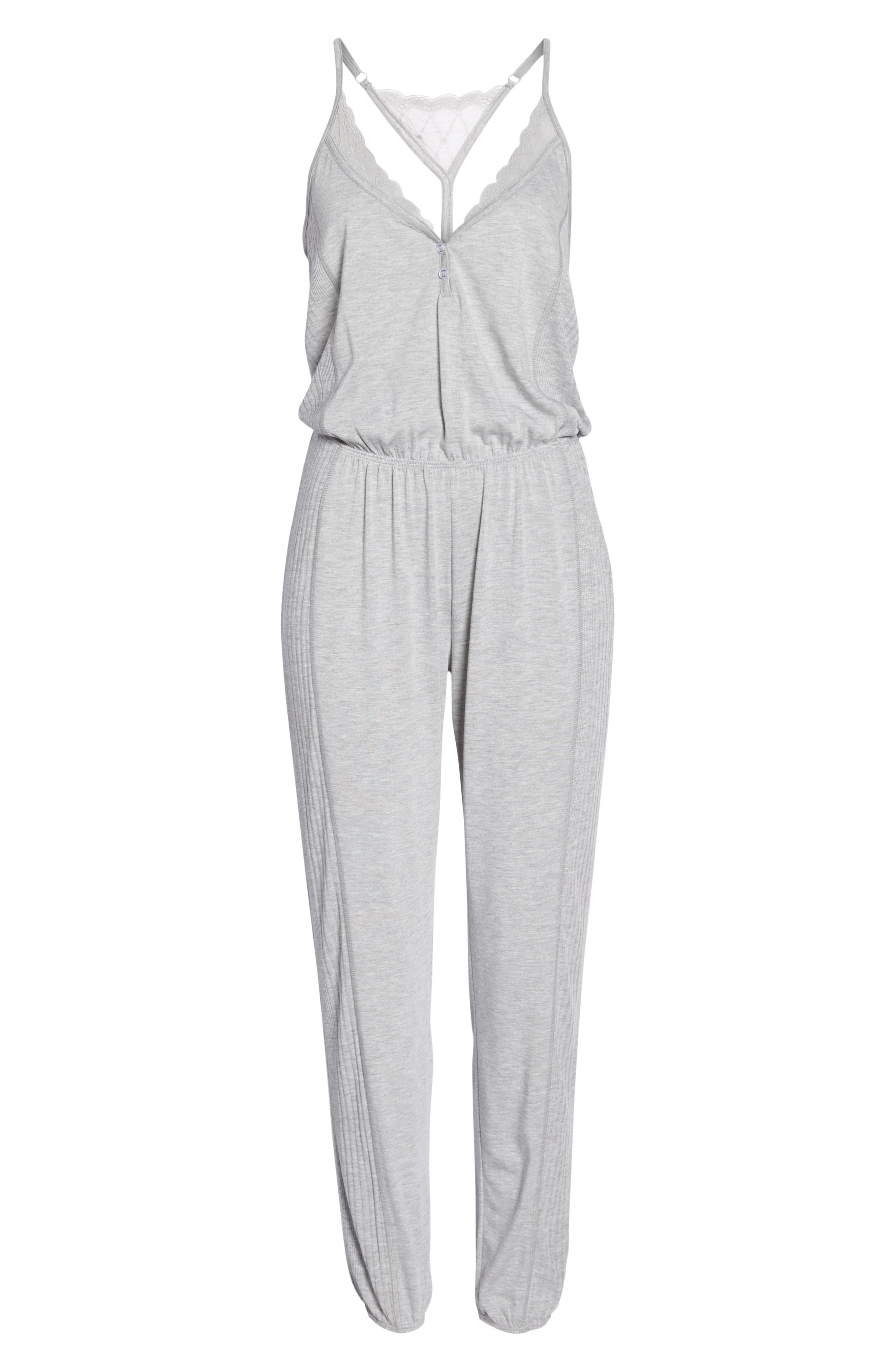 Romper Pajamas,                             Alternate thumbnail 6, color,                             Light Heather Grey