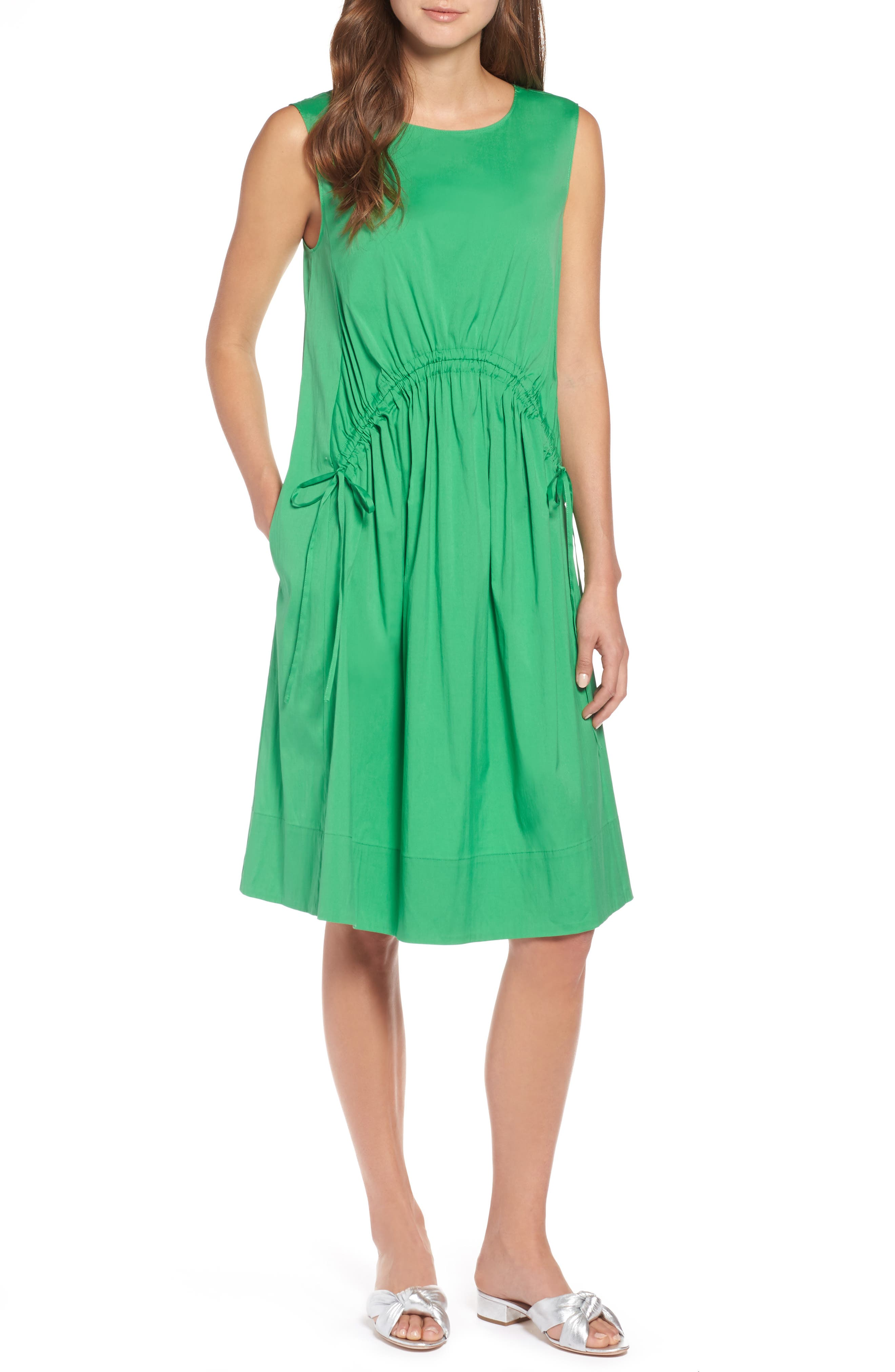 Drawcord Stretch Cotton Blend Dress,                             Main thumbnail 1, color,                             Green Kelly