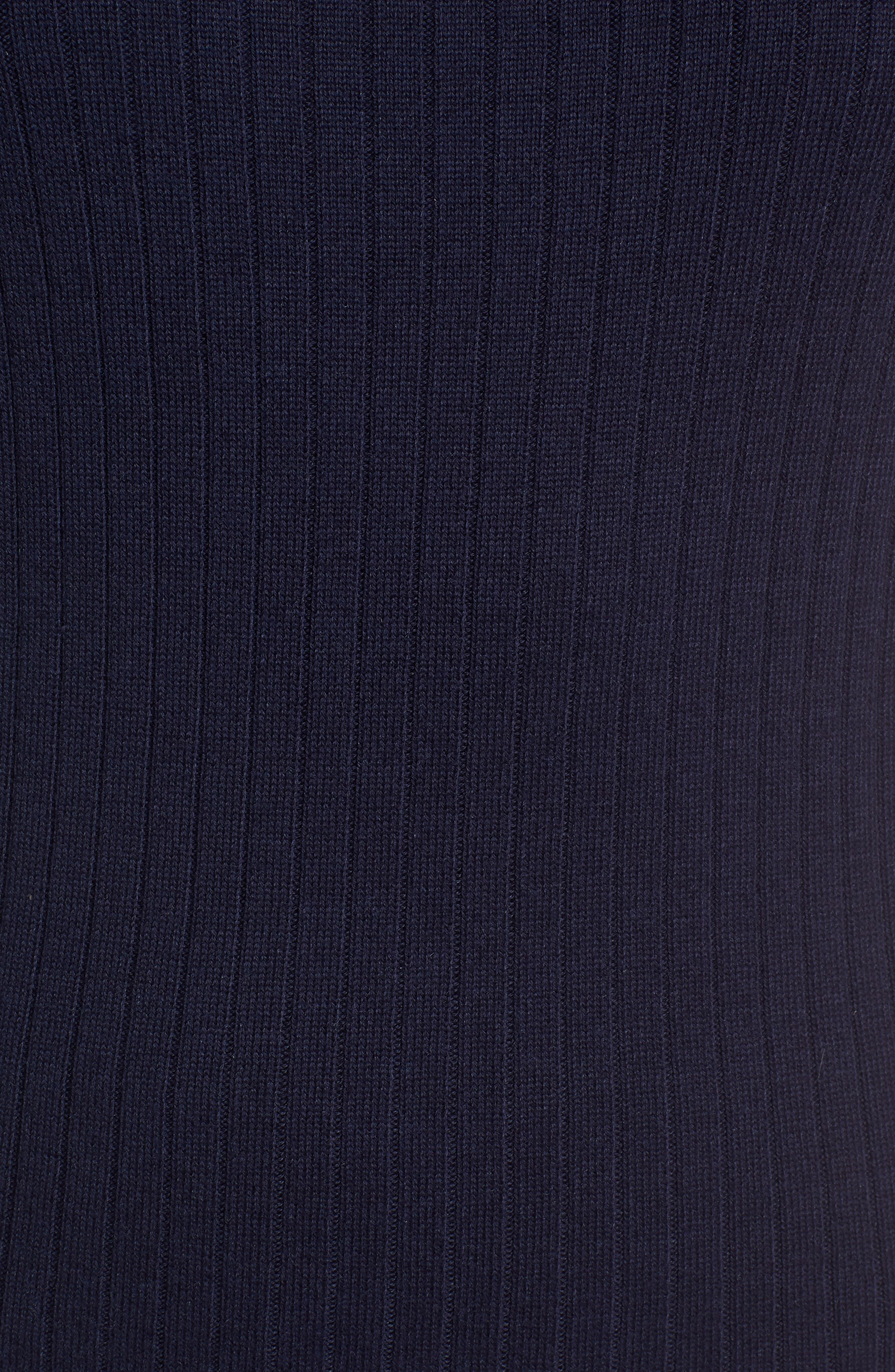 Tipped Cotton Blend Ribbed Sweater,                             Alternate thumbnail 5, color,                             Navy Peacoat