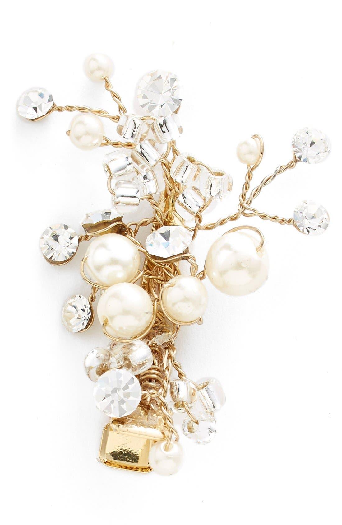 Main Image - Wedding Belles New York Glass Pearl & Crystal Hair Clip