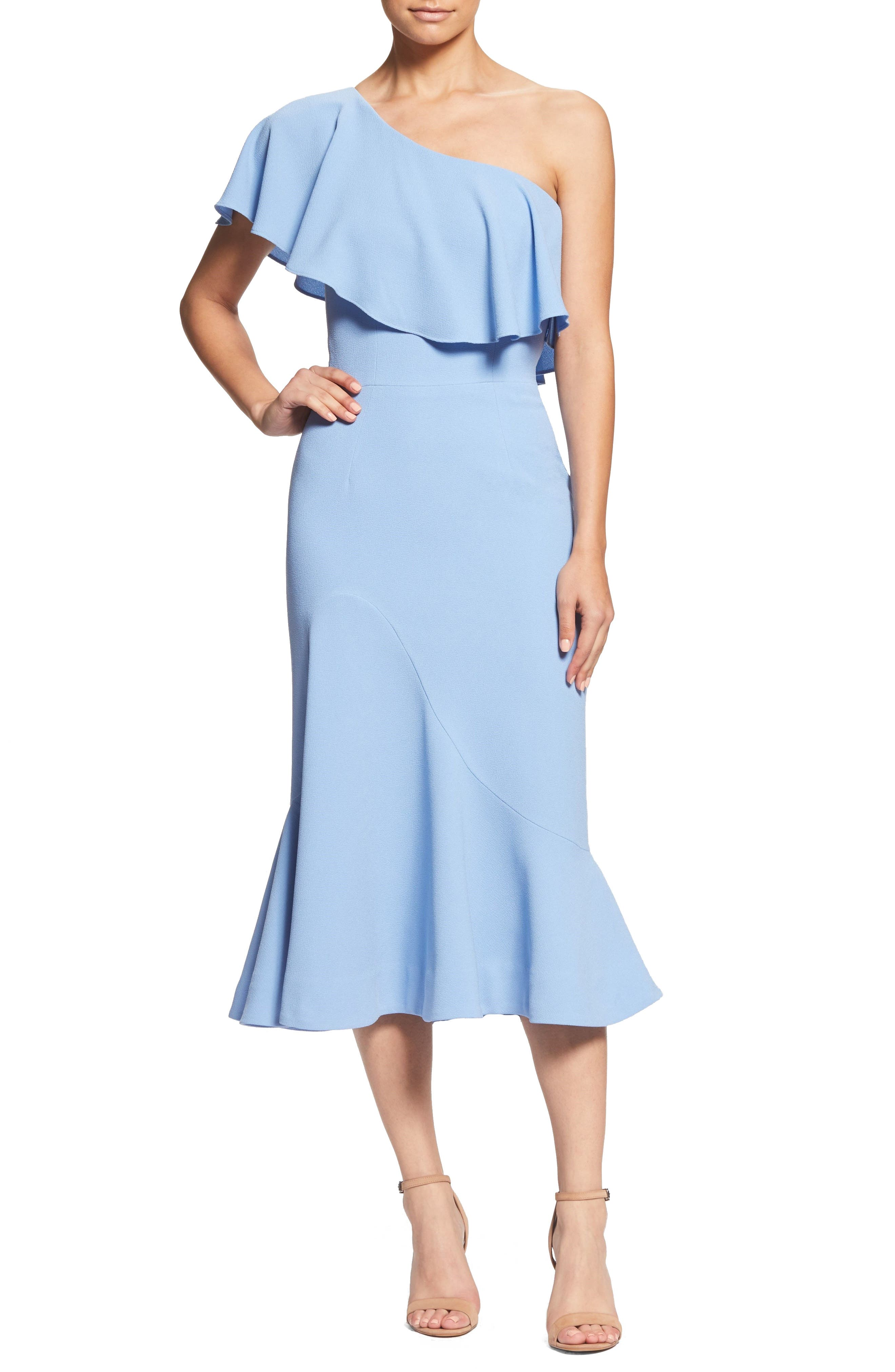 Raquel One-Shoulder Trumpet Dress,                         Main,                         color, Ice Blue