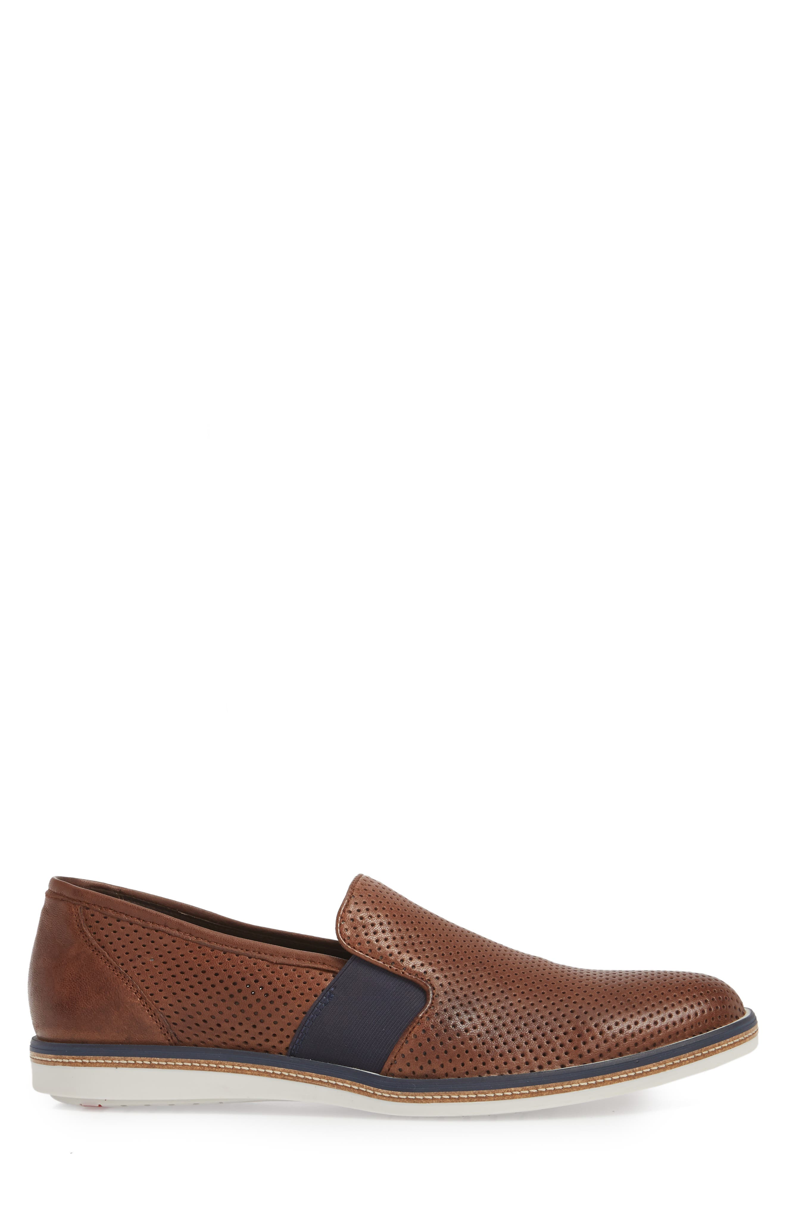 Alister Perforated Loafer,                             Alternate thumbnail 3, color,                             Tobacco Leather