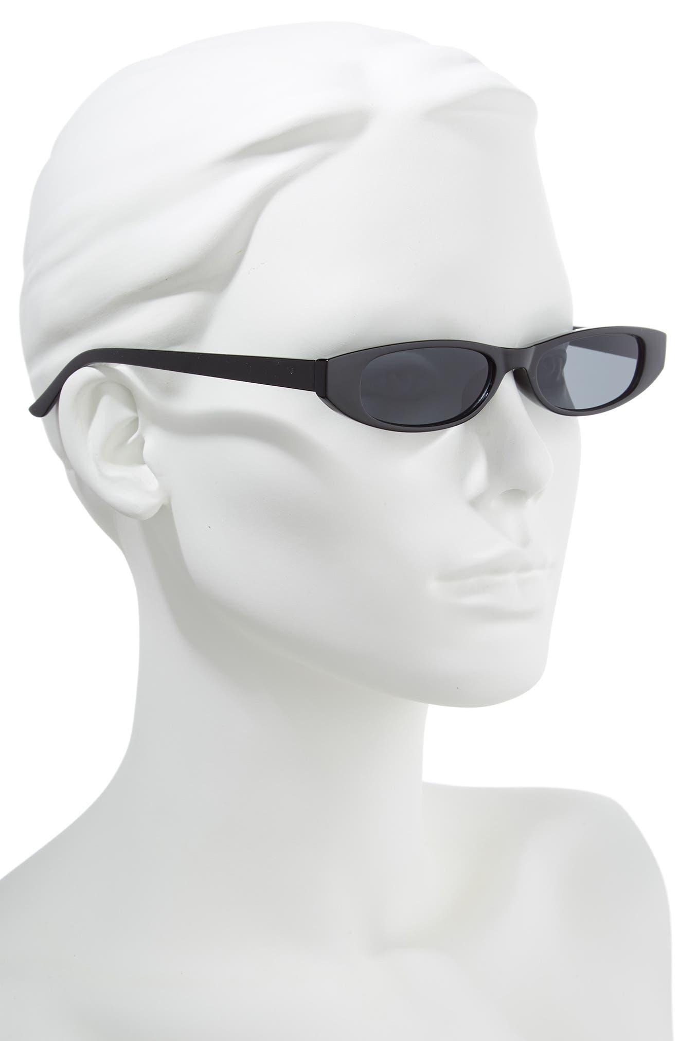 50mm Geometric Sunglasses,                             Alternate thumbnail 2, color,                             Black