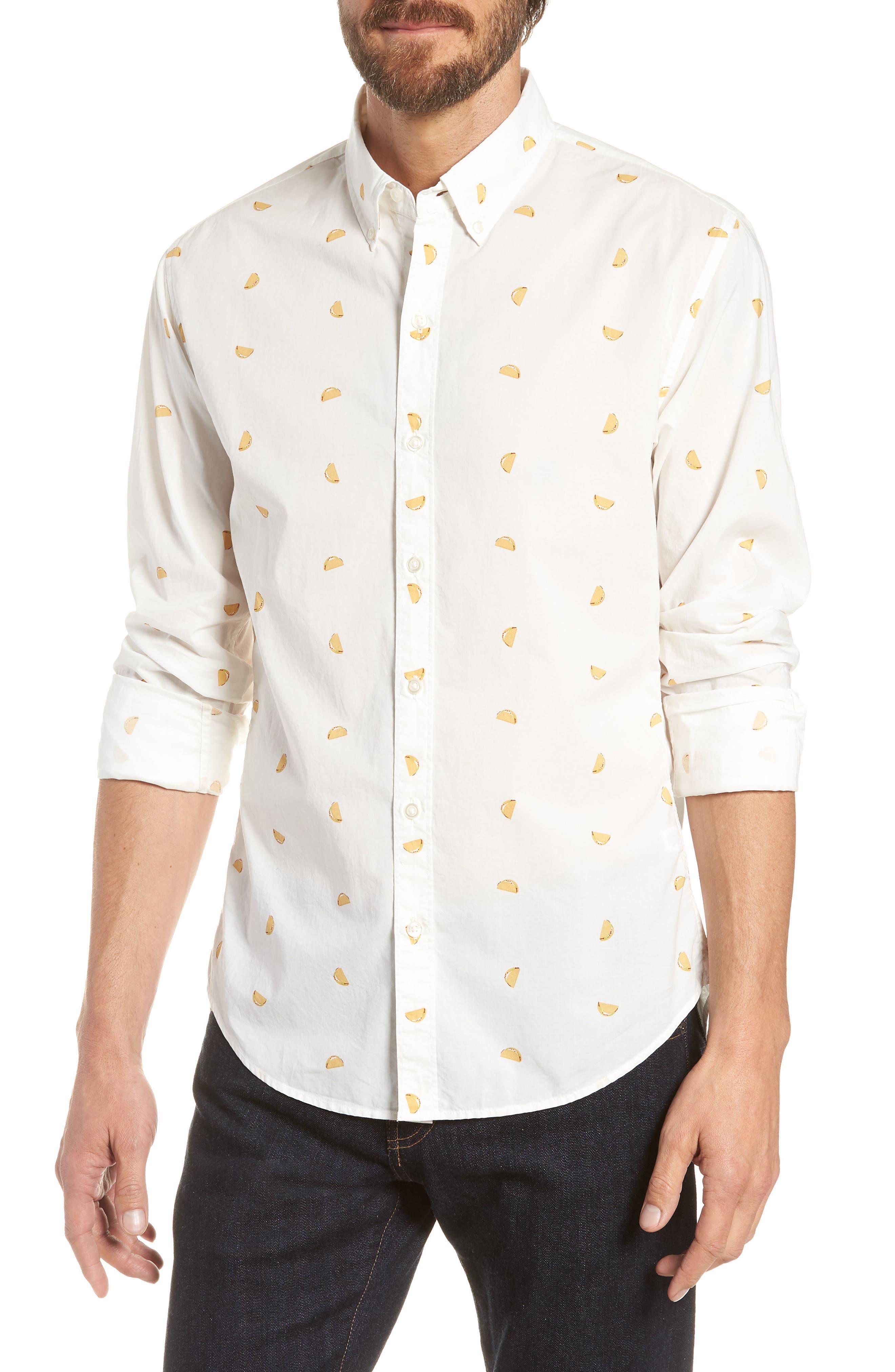Summerweight Slim Fit Taco Print Sport Shirt,                         Main,                         color, Taco Toss - Golden Lotus