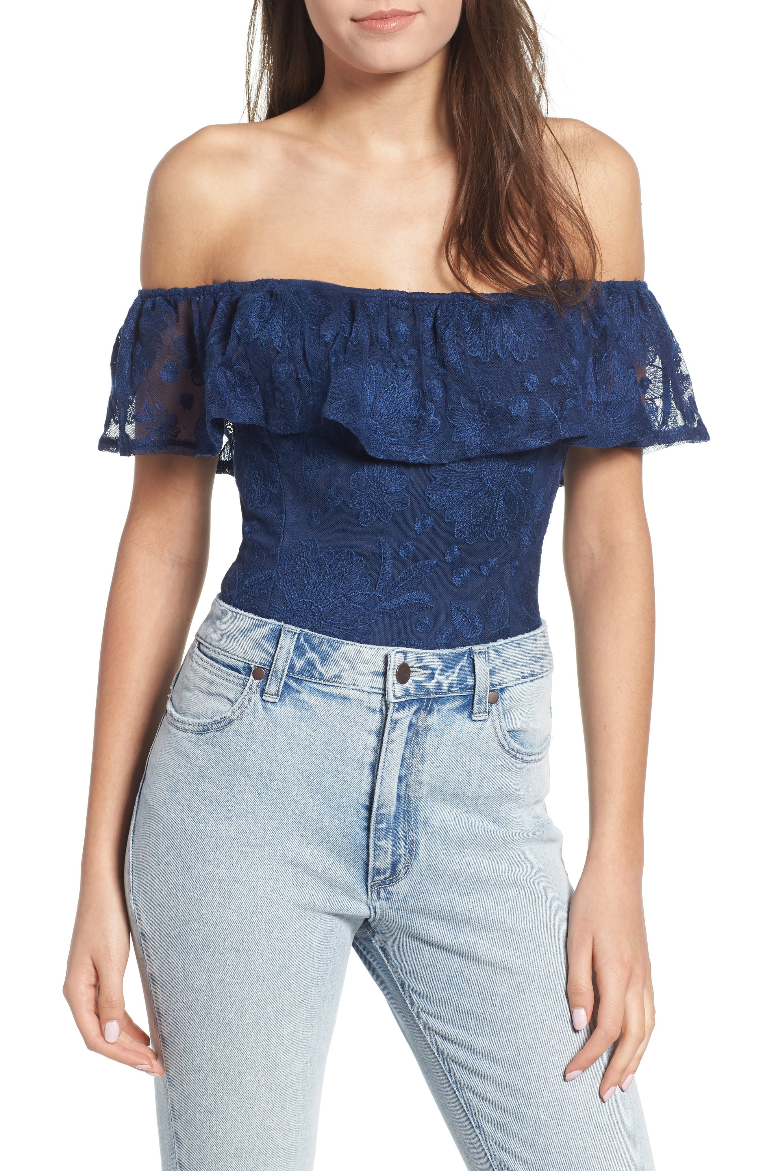 Abby Embroidered Bodysuit,                             Alternate thumbnail 2, color,                             Navy Lace