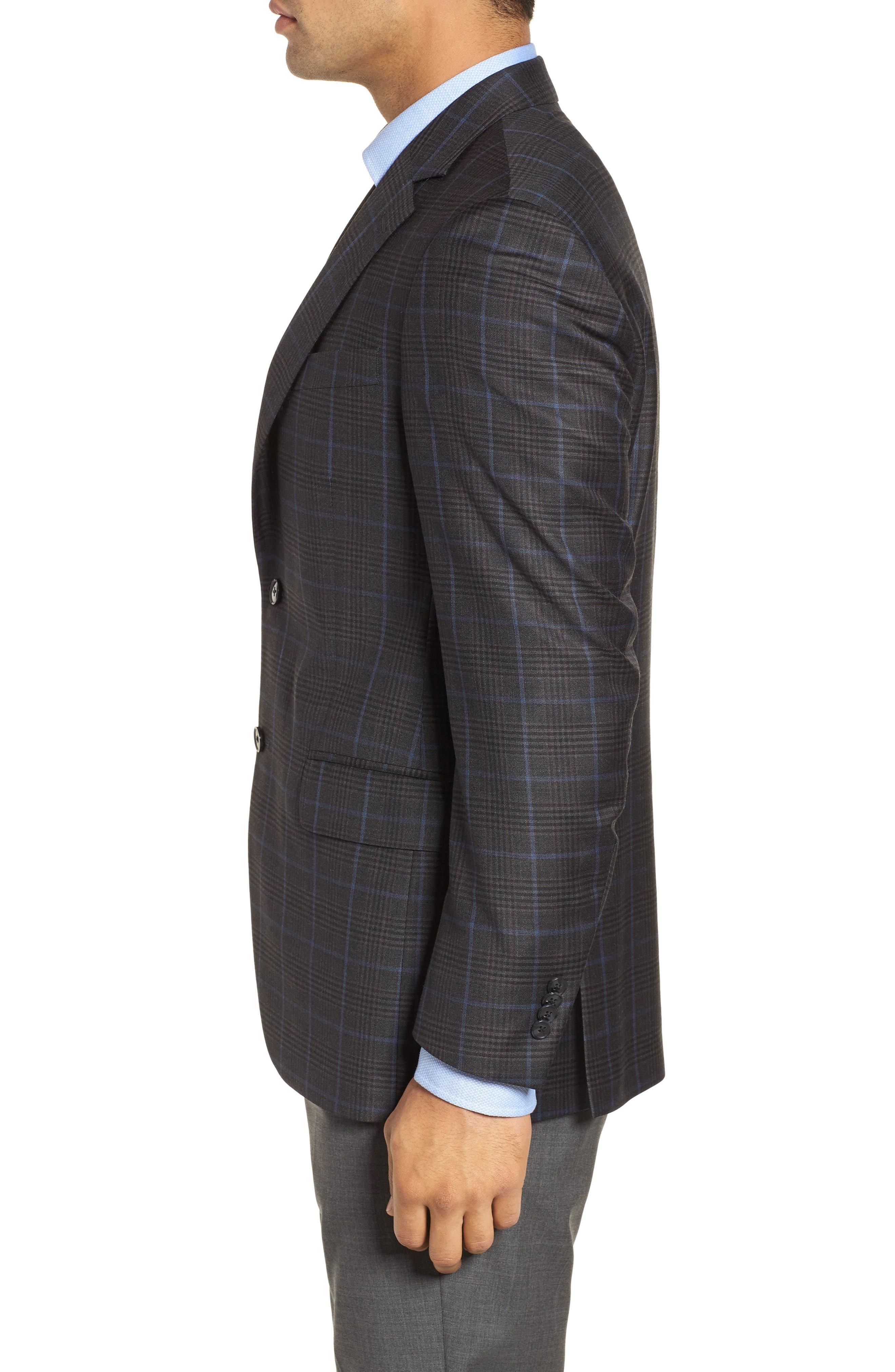 Hyperlight Classic Fit Plaid Wool Sport Coat,                             Alternate thumbnail 5, color,                             Grey