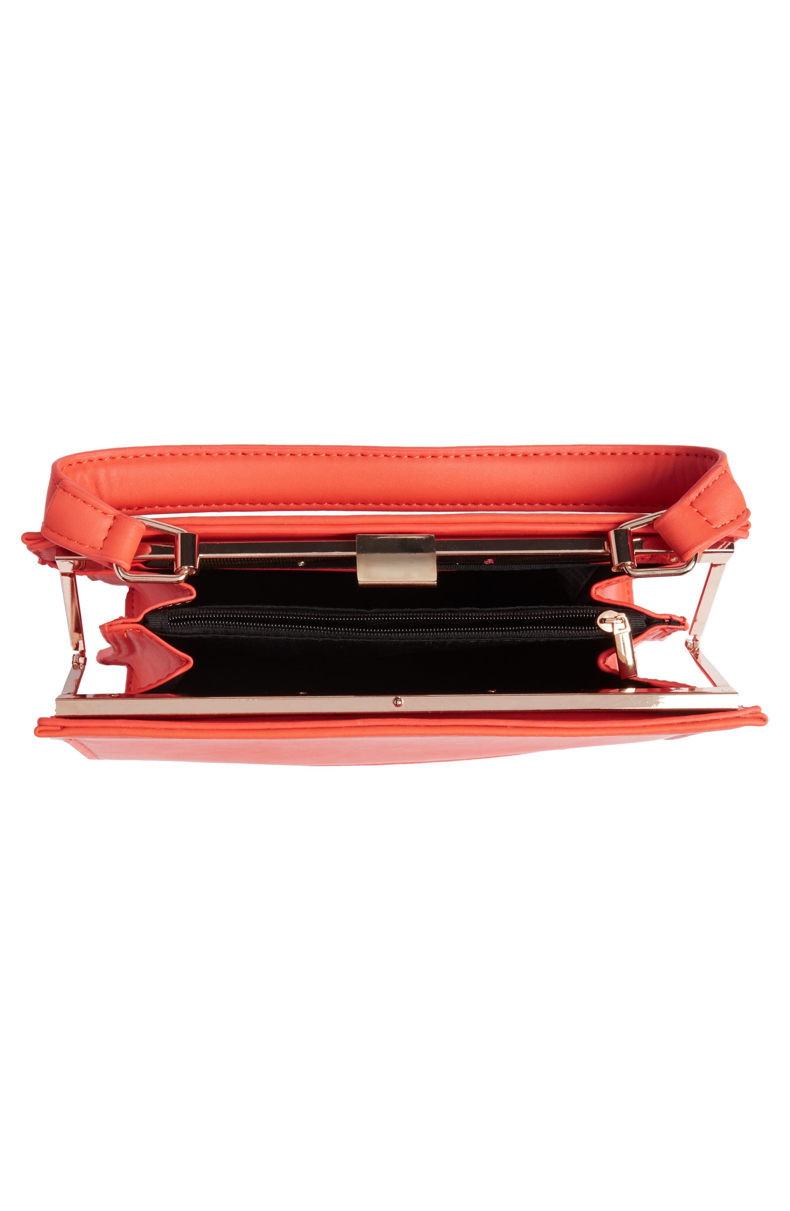 Faux Leather Frame Handbag,                             Alternate thumbnail 4, color,                             Red