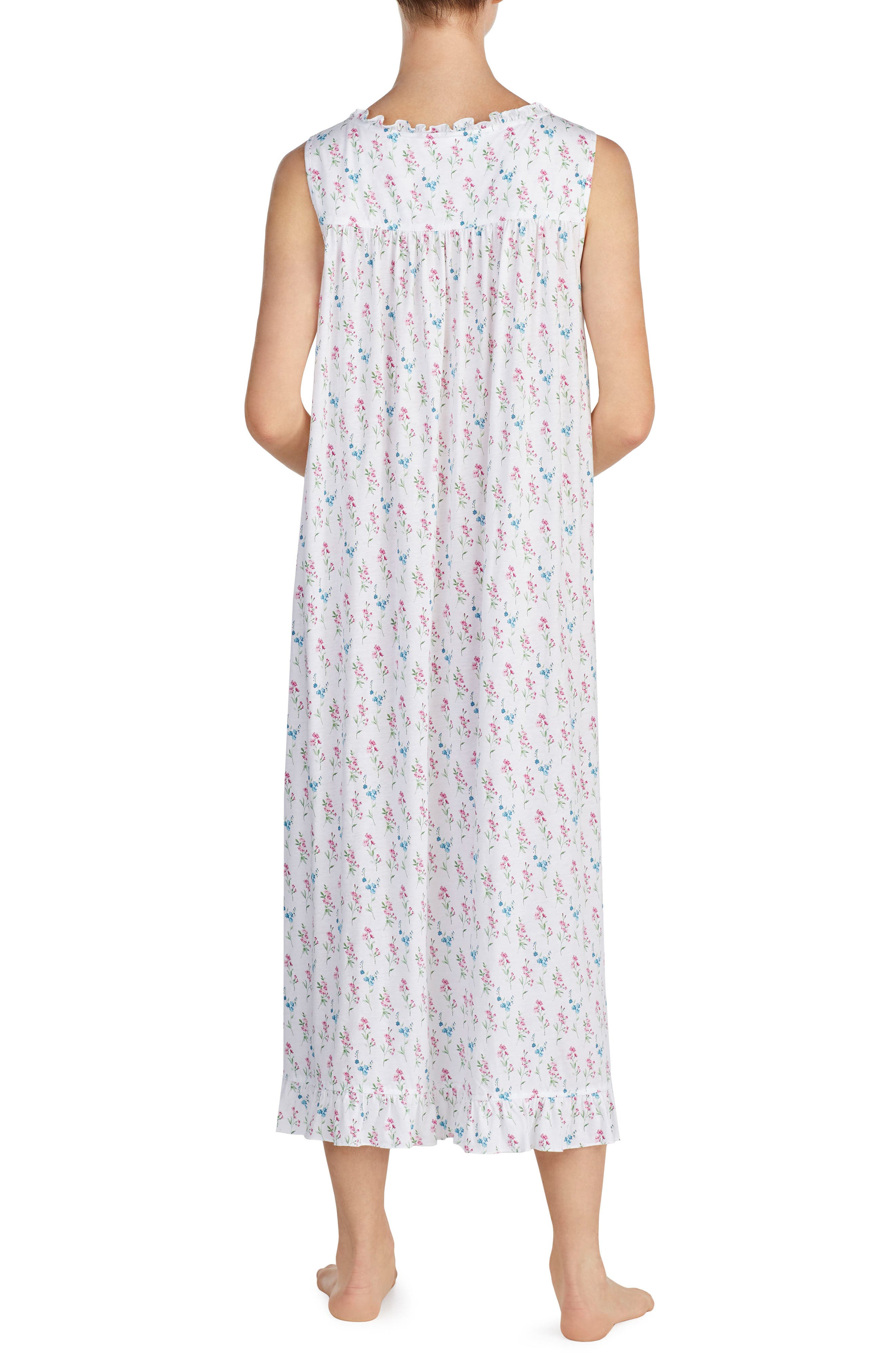 Long Nightgown,                             Alternate thumbnail 2, color,                             White Grnd Multi Fall Floral