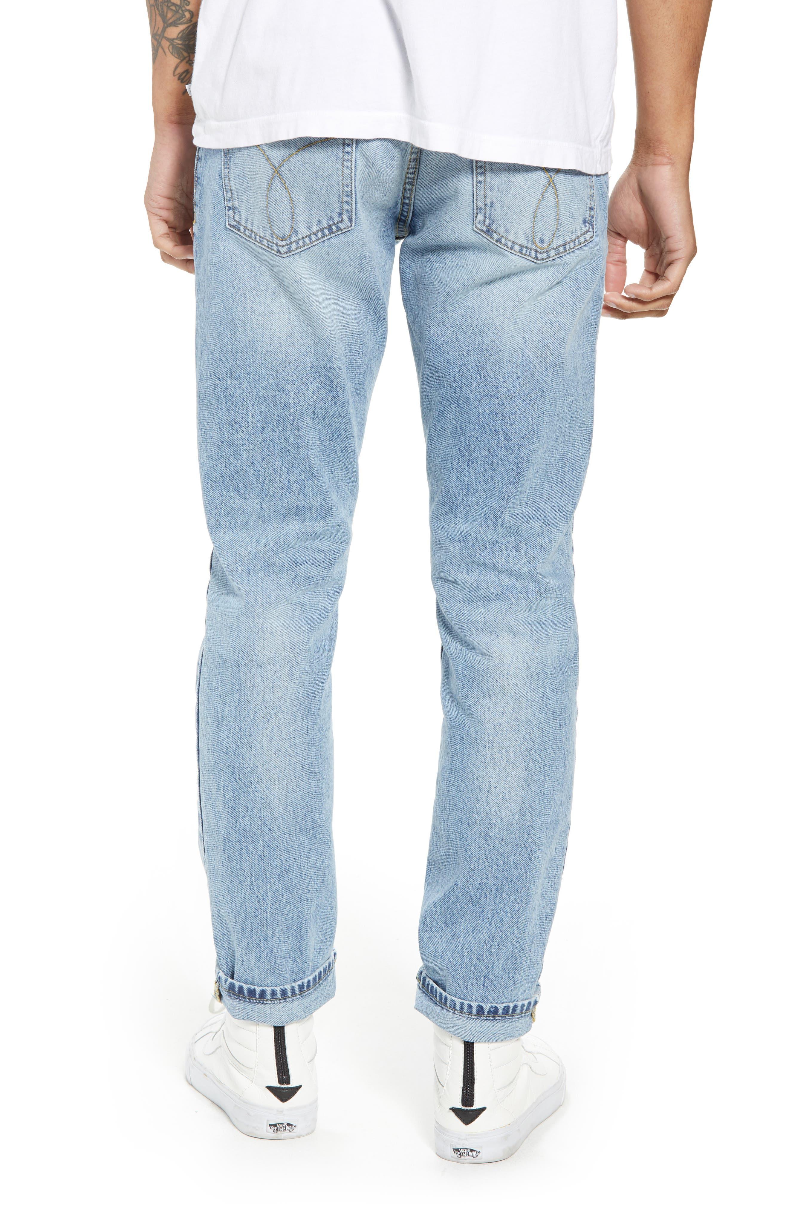 Straight Tapered Leg Jeans,                             Alternate thumbnail 2, color,                             Jalapeno Blue