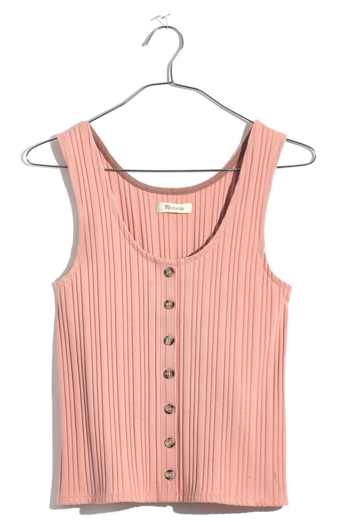 Ribbed Button Front Tank,                         Main,                         color, Pink Icing