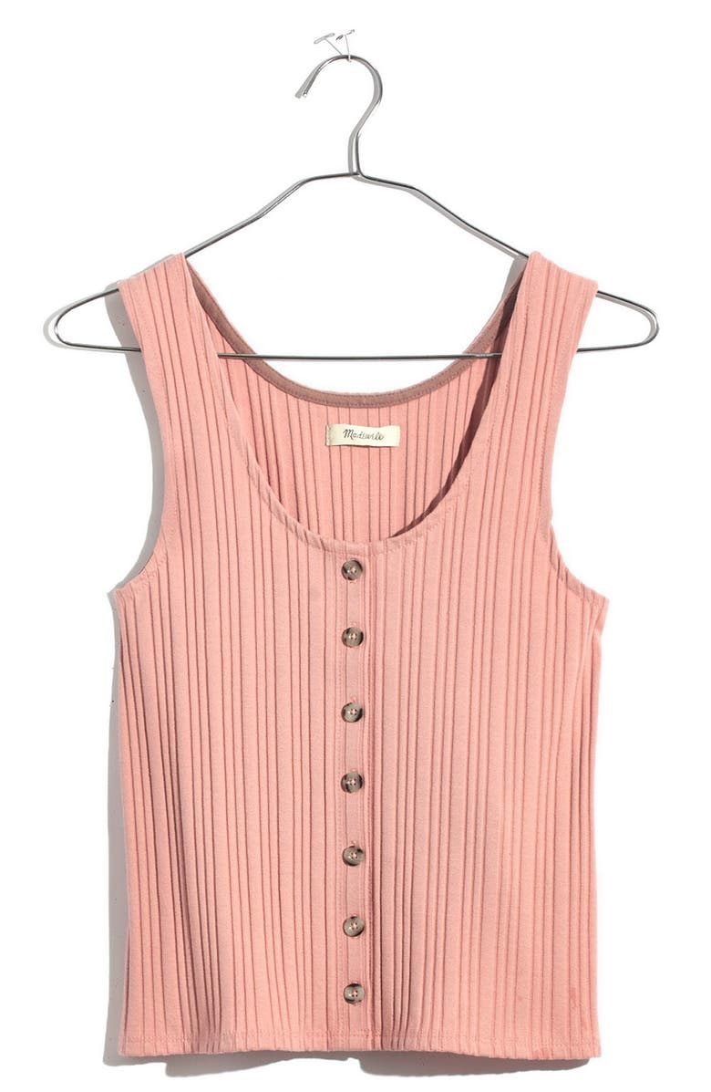 74f503d79f2 Madewell Ribbed Button Front Tank In Pink Icing