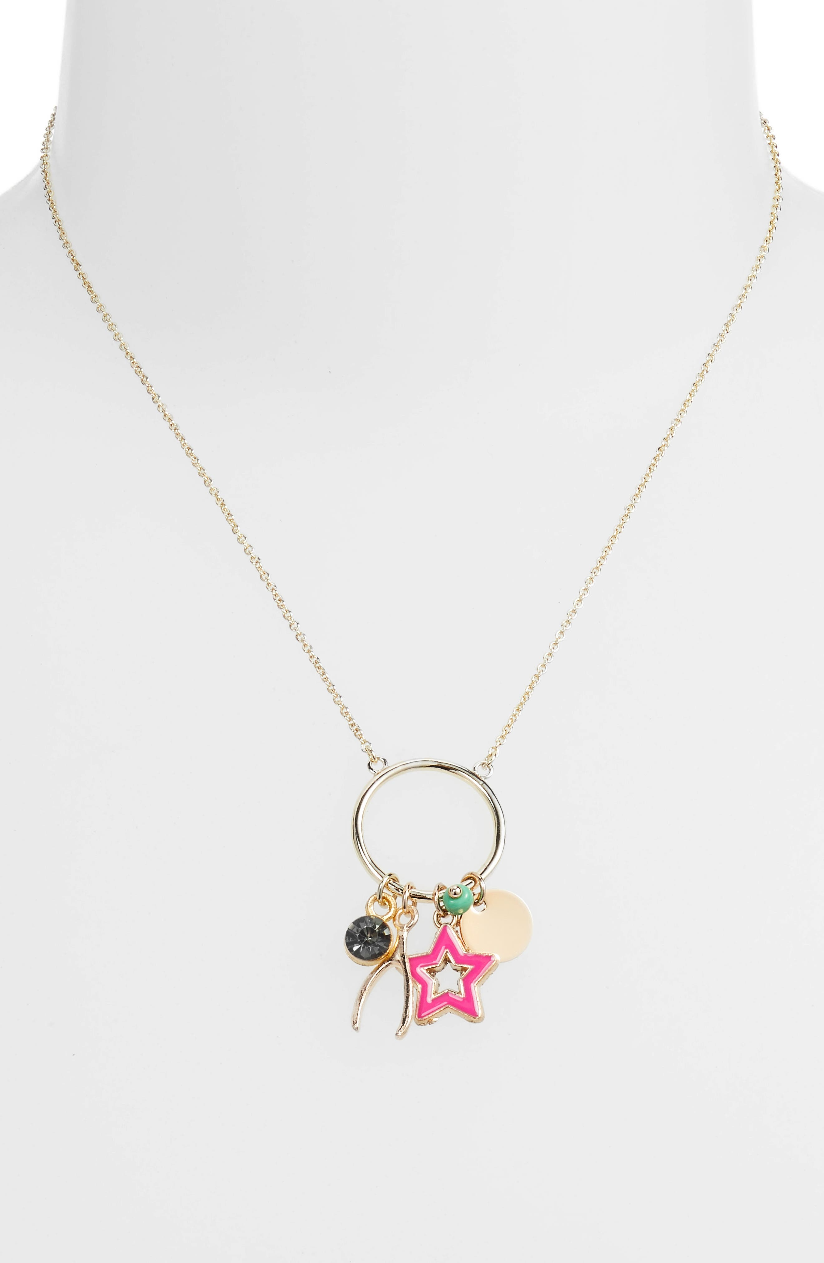Lola Charm Pendant Necklace,                             Alternate thumbnail 2, color,                             Gold