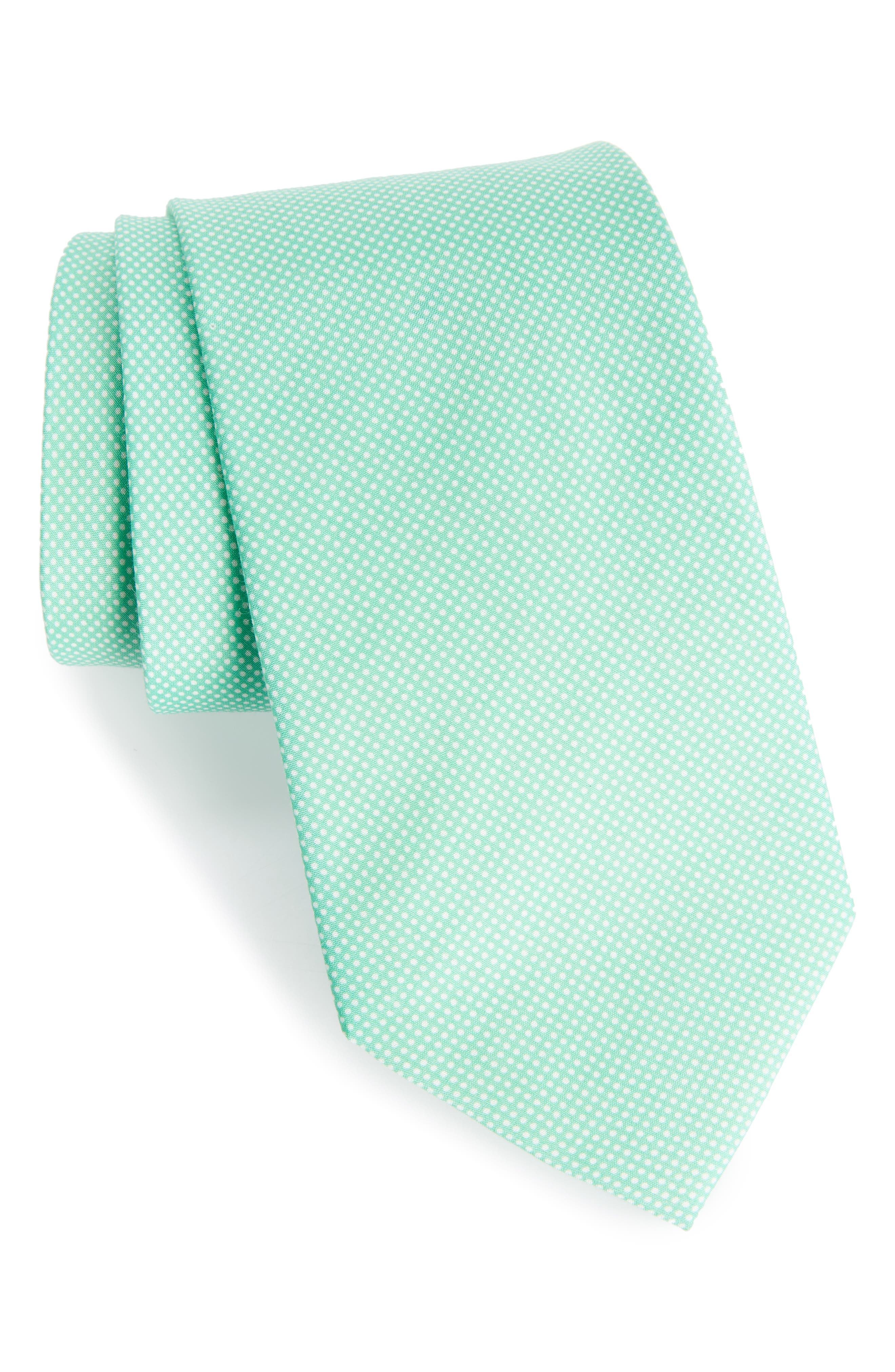 Dapper Dots Cotton & Silk Tie,                             Main thumbnail 1, color,                             Green
