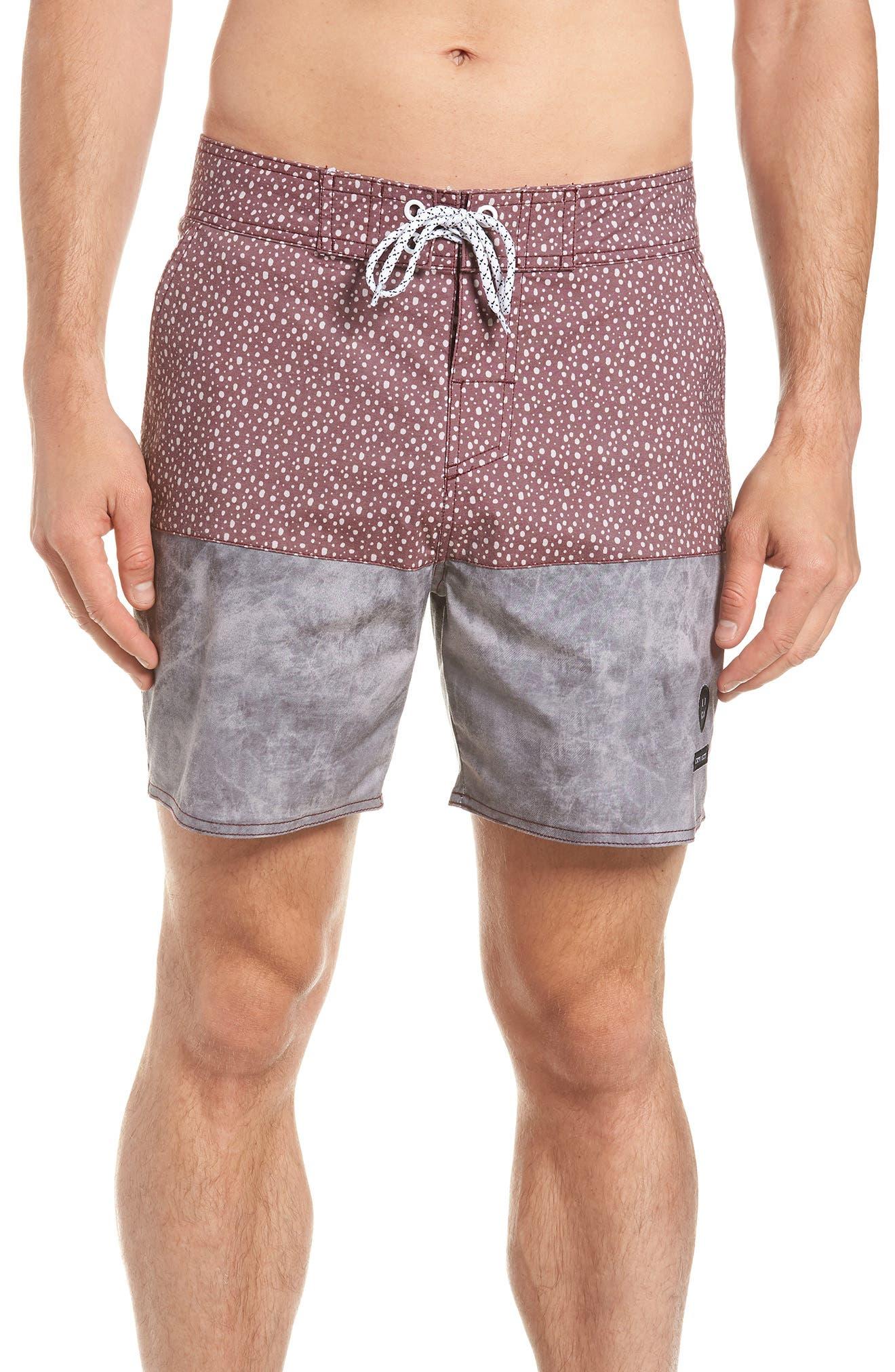 Dotted Swim Shorts,                             Main thumbnail 1, color,                             Rust