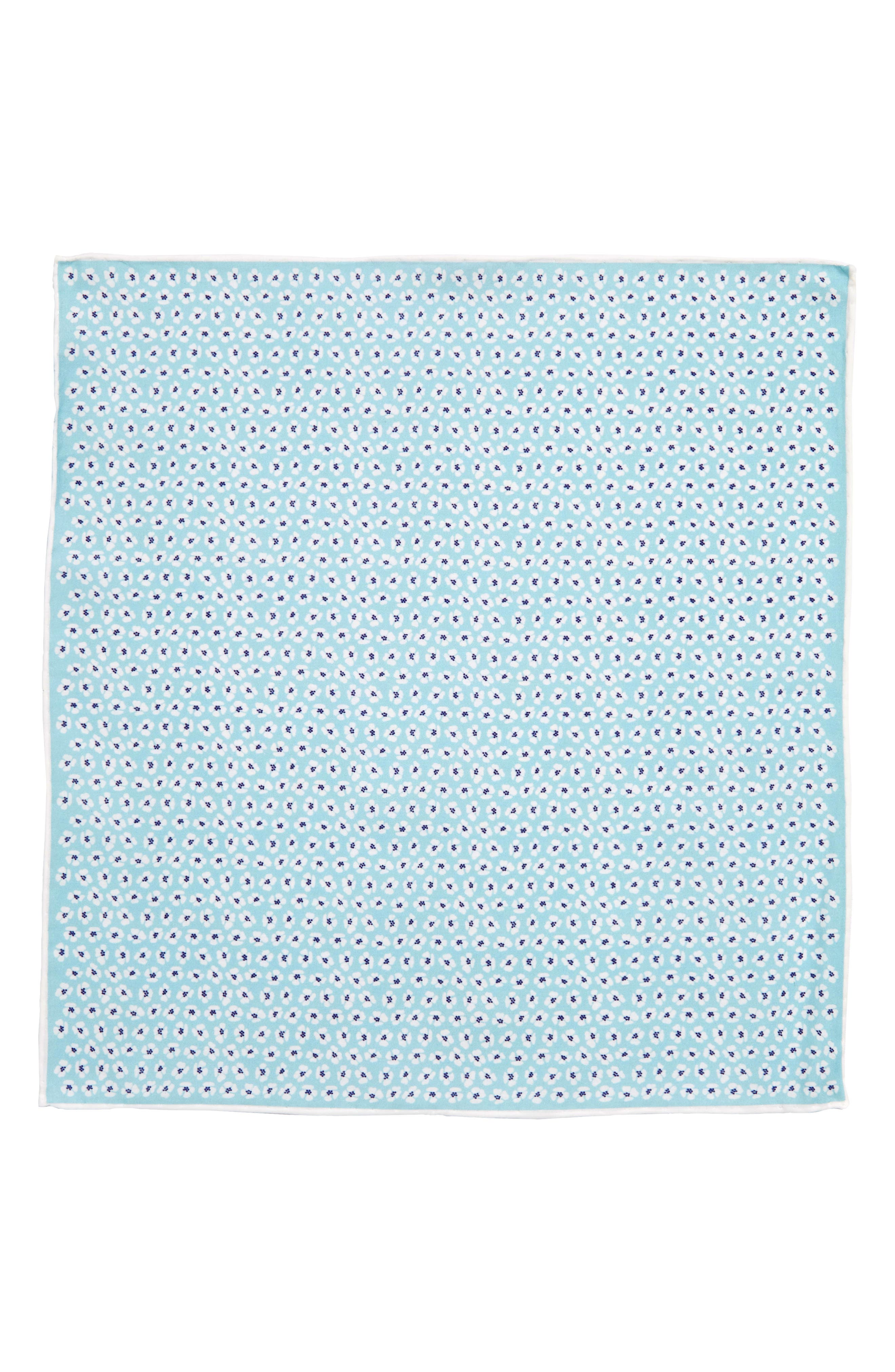 Whitefield Floral Cotton & Silk Pocket Square,                             Alternate thumbnail 2, color,                             Aqua