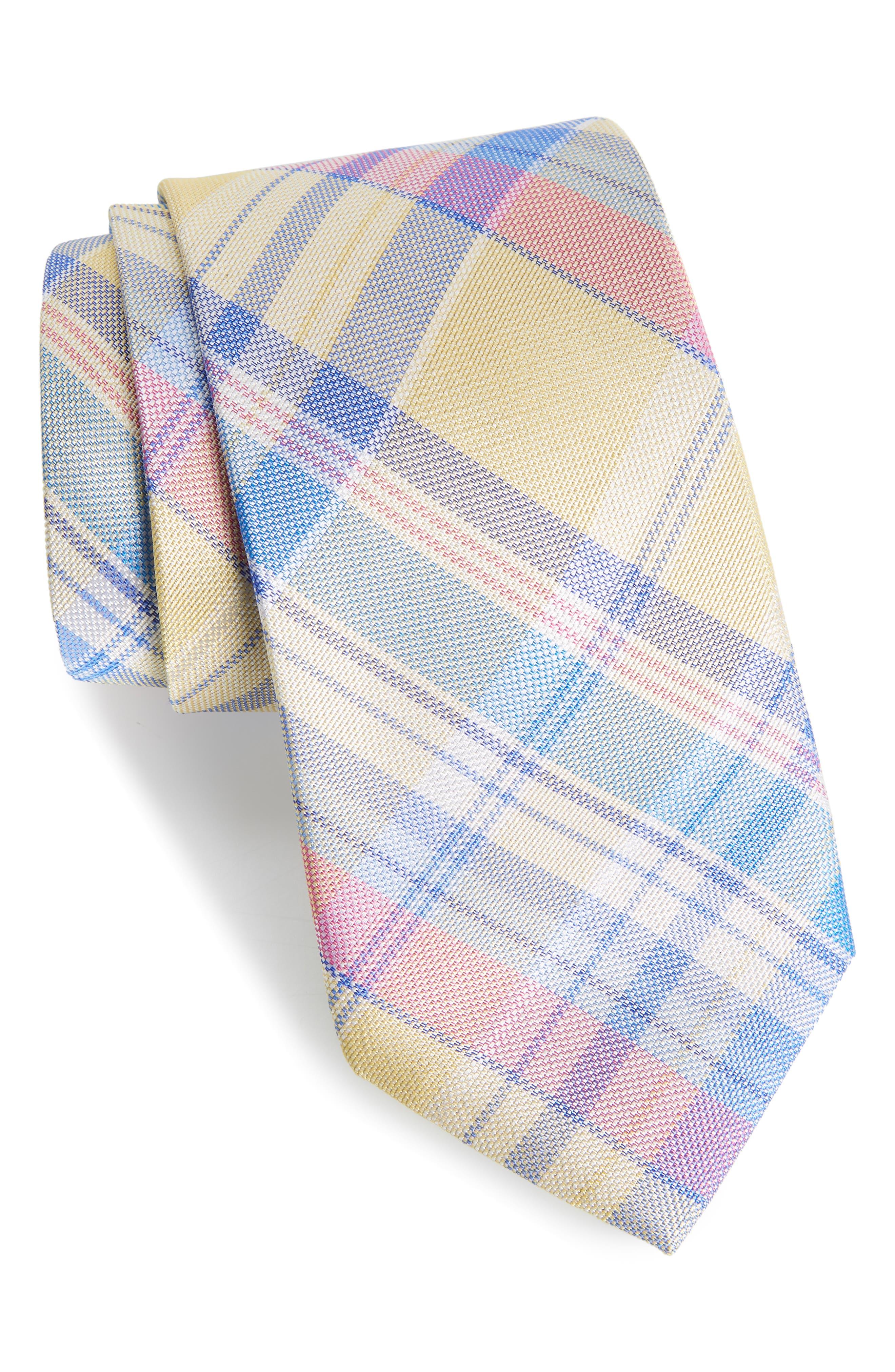 Del Rio Plaid Silk Tie,                         Main,                         color, Yellow