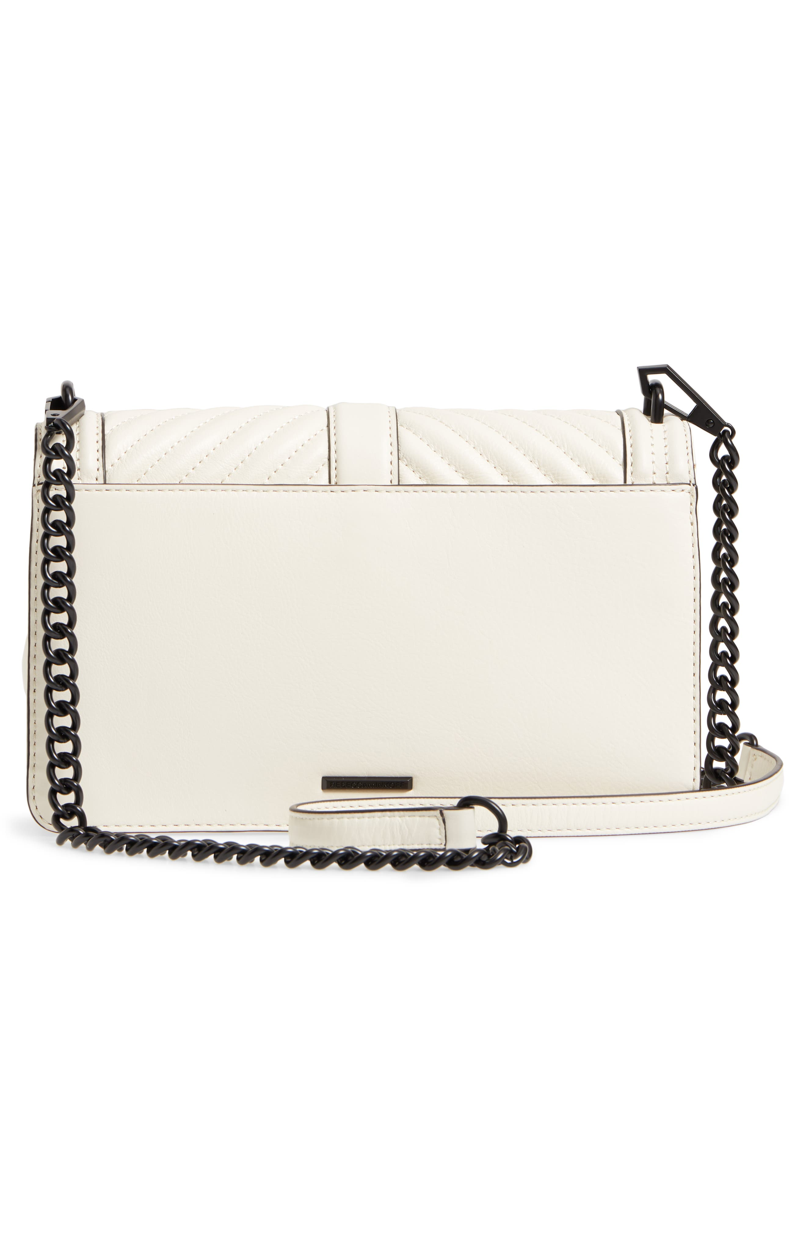'Chevron Quilted Love' Crossbody Bag,                             Alternate thumbnail 3, color,                             Antique White