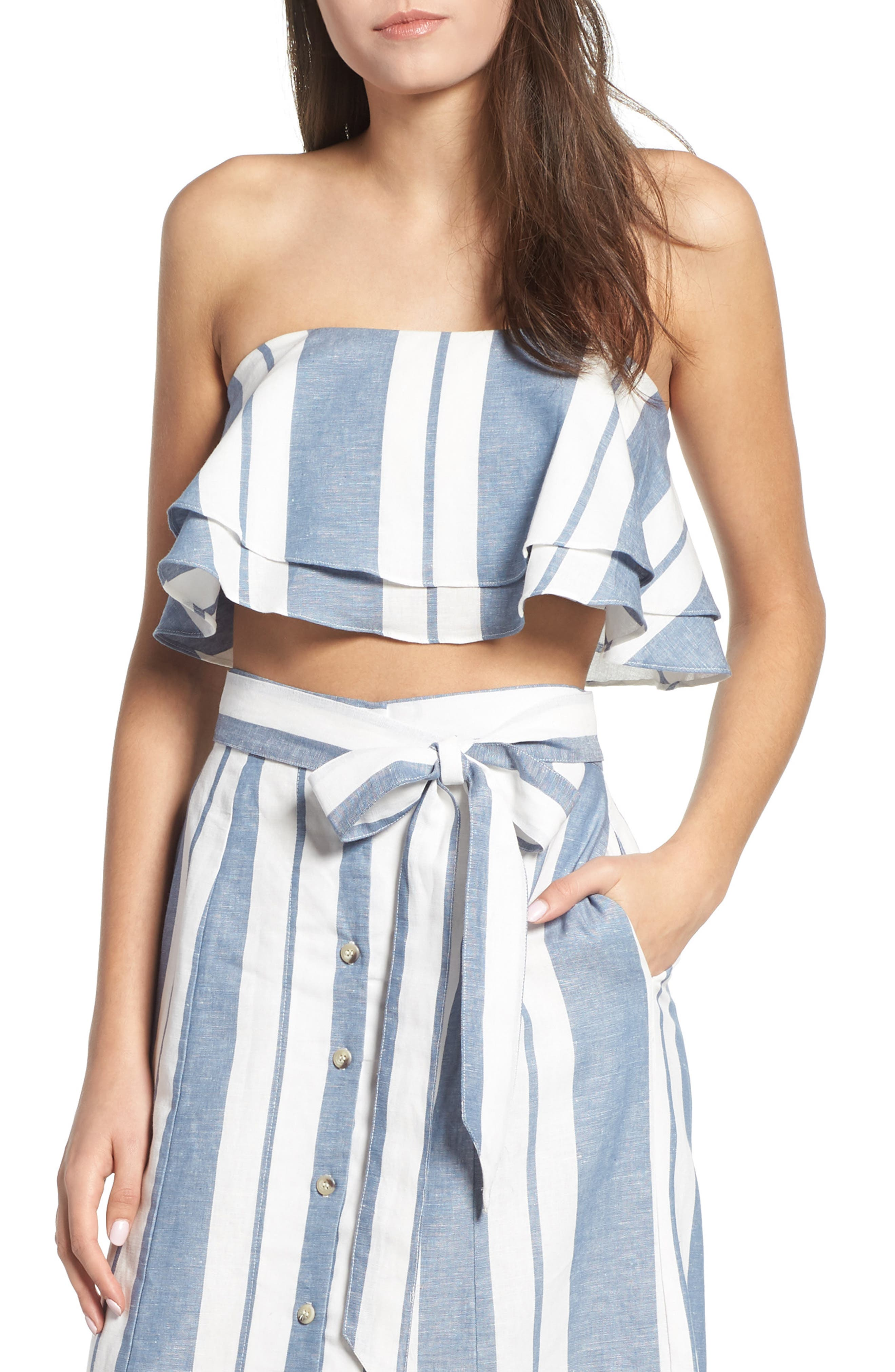 Maya Strapless Ruffle Crop Top,                         Main,                         color, Navy Broad Stripe