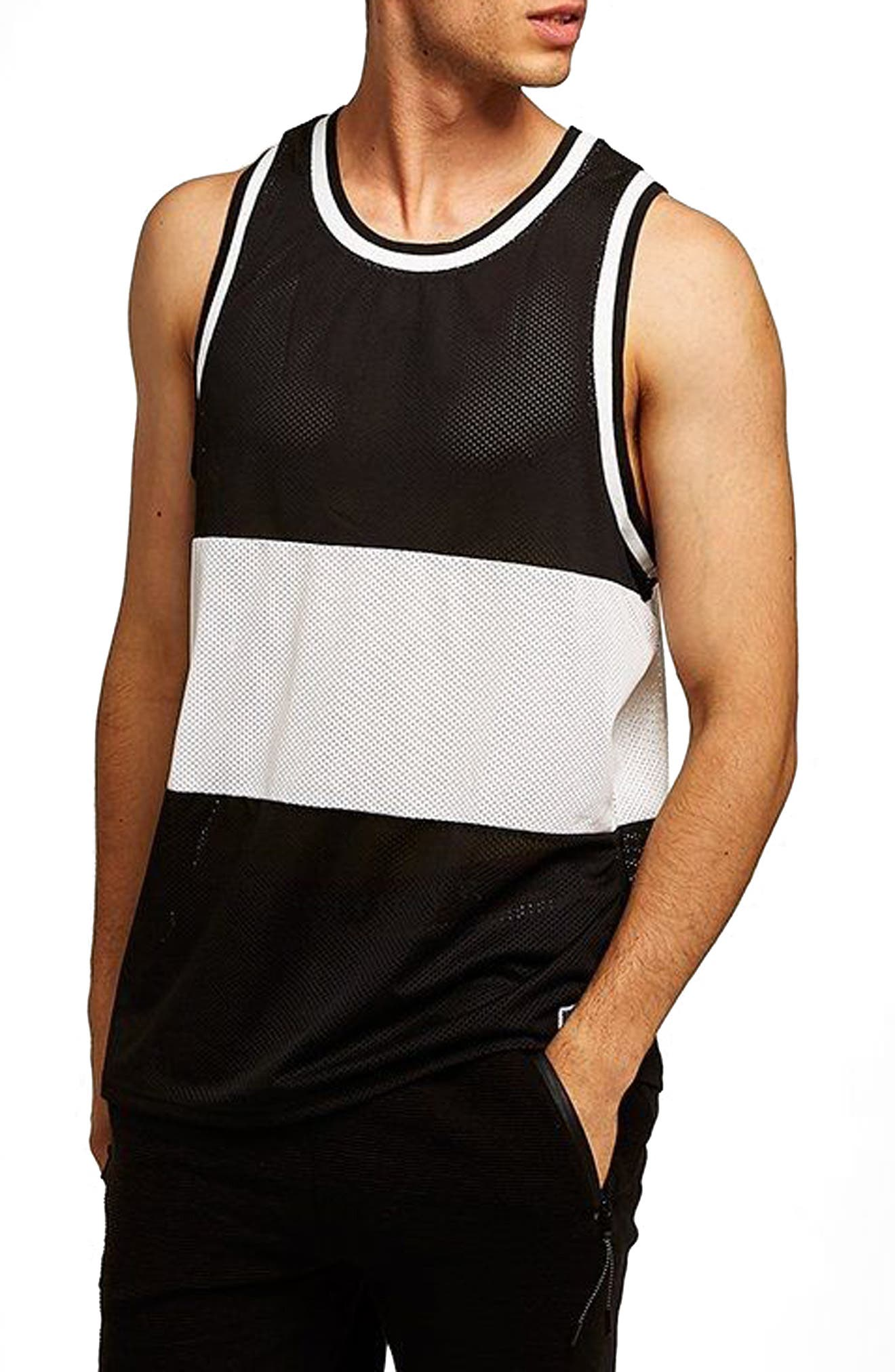 Liam Classic Fit Colorblocked Mesh Tank,                             Main thumbnail 1, color,                             Black Multi