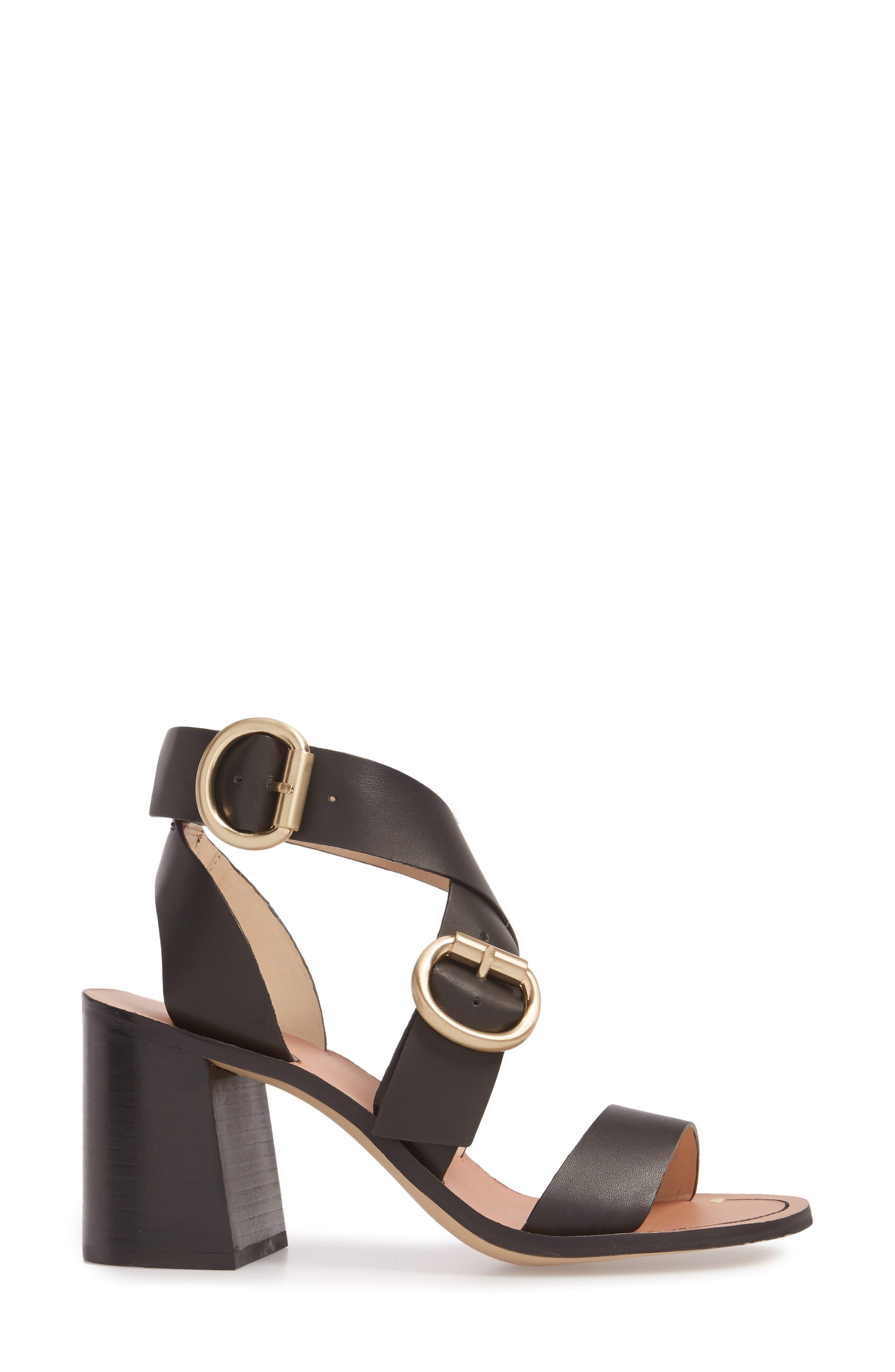 Natalie Buckled Cross Strap Sandal,                             Alternate thumbnail 3, color,                             Black Multi