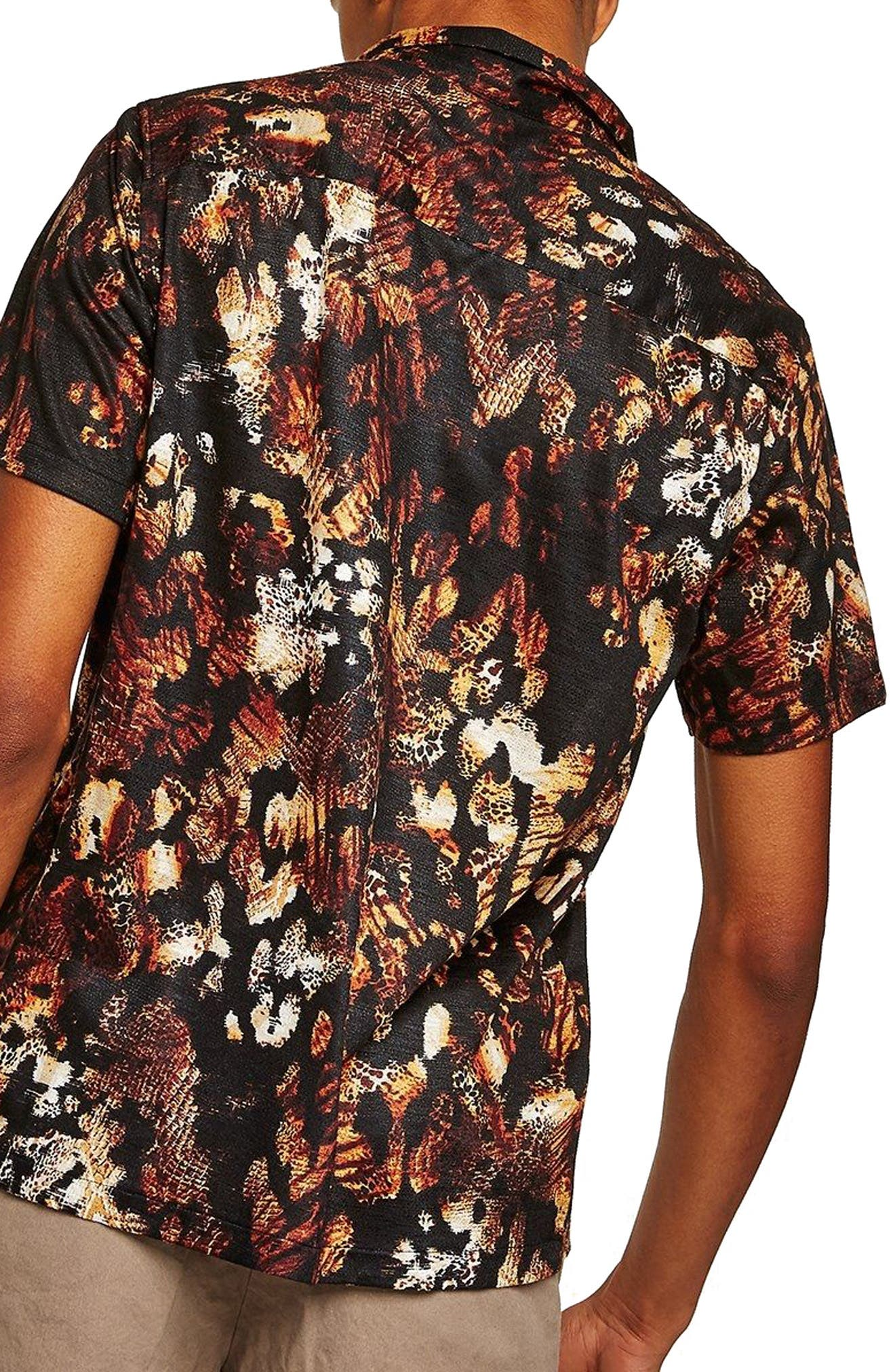 Animal Jacquard Print Camp Shirt,                             Alternate thumbnail 2, color,                             Black Multi