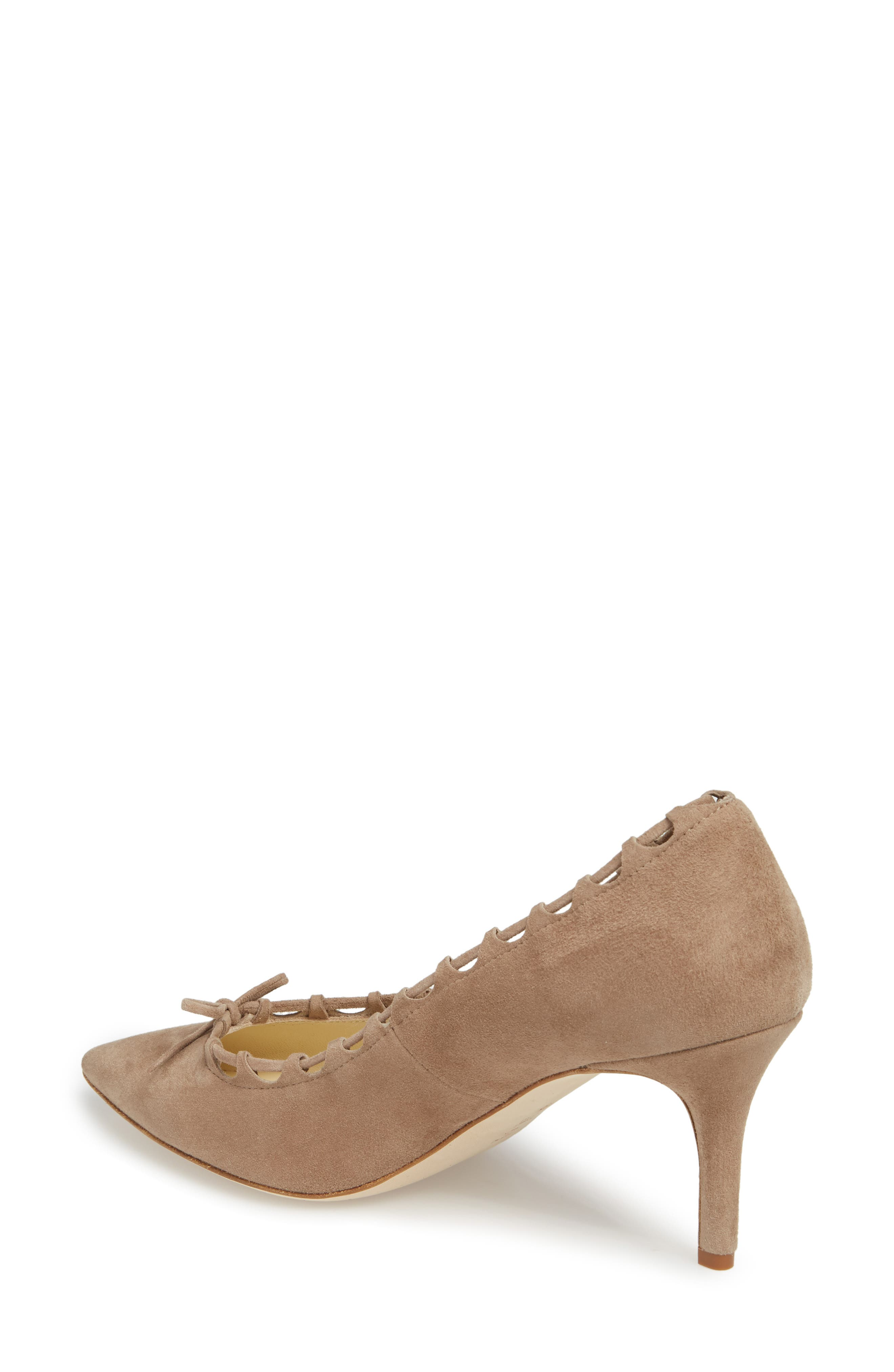 Butter Eris Pointy Toe Pump,                             Alternate thumbnail 2, color,                             Taupe Suede