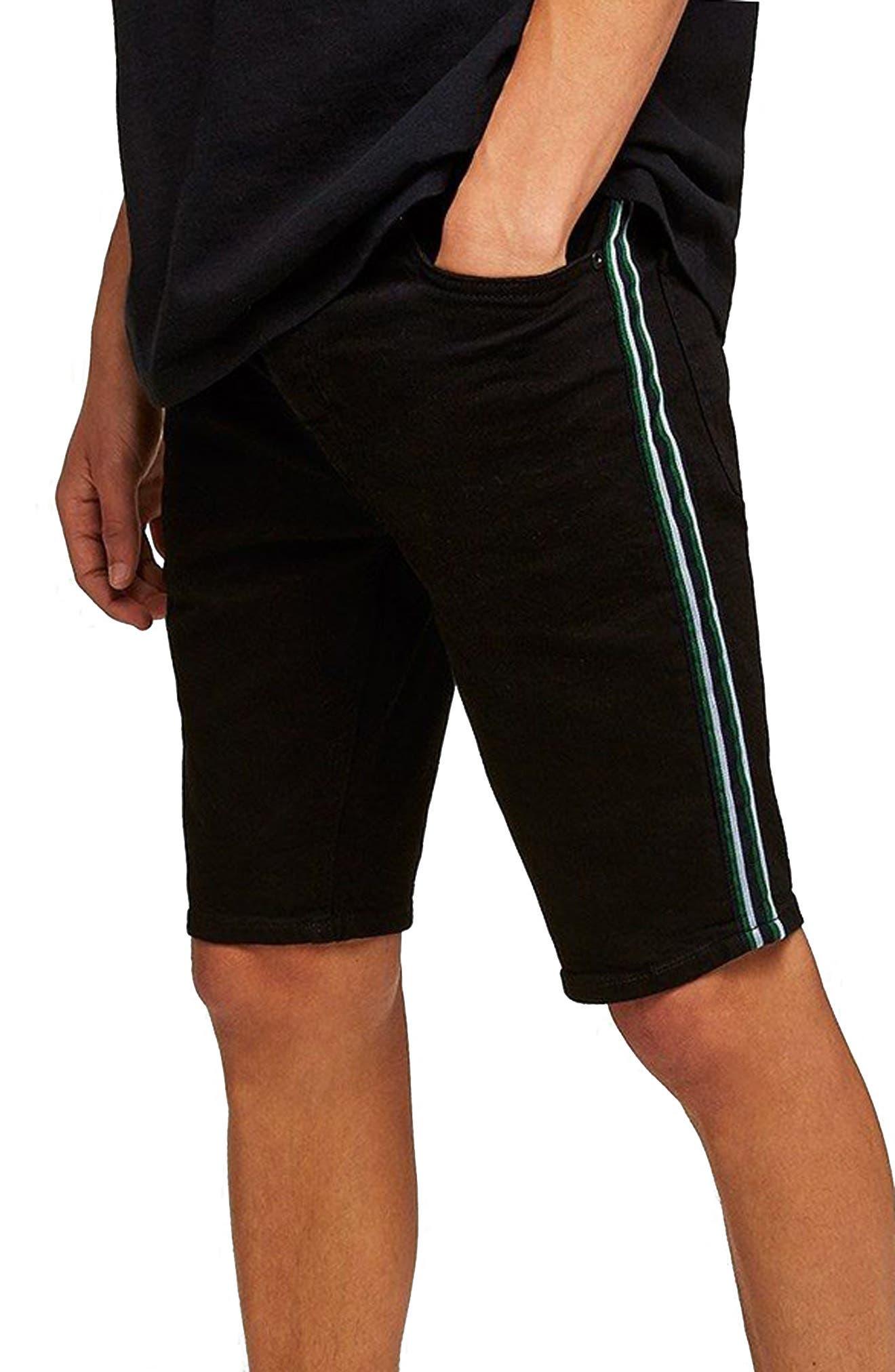 Tape Stretch Skinny Fit Denim Shorts,                             Main thumbnail 1, color,                             Black