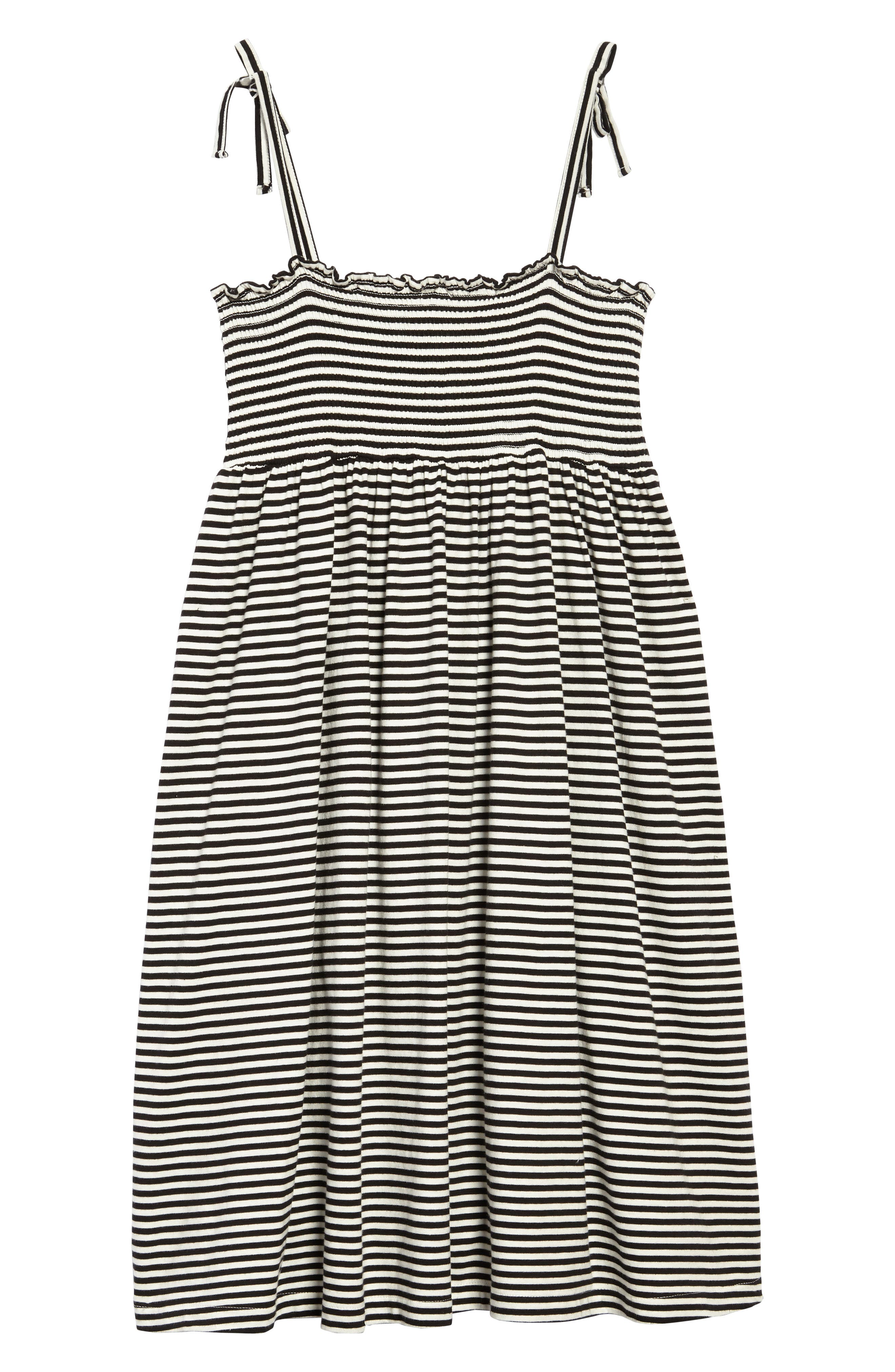 Stripe Smocked Bodice Dress,                             Alternate thumbnail 2, color,                             Black Ivory Stripe