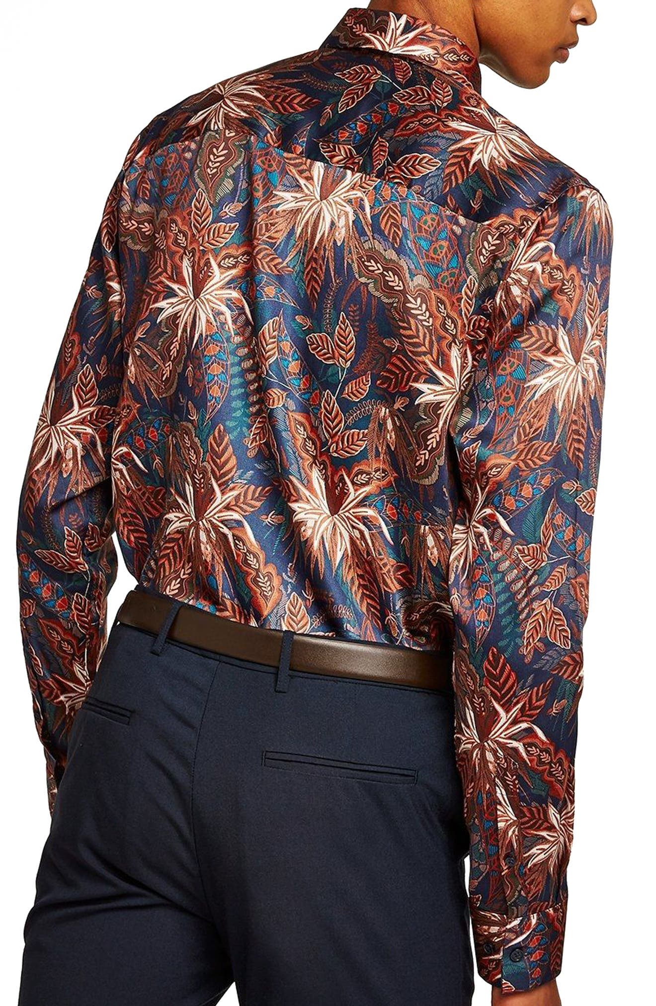 Slim Fit Floral Print Shirt,                             Alternate thumbnail 3, color,                             Blue Multi