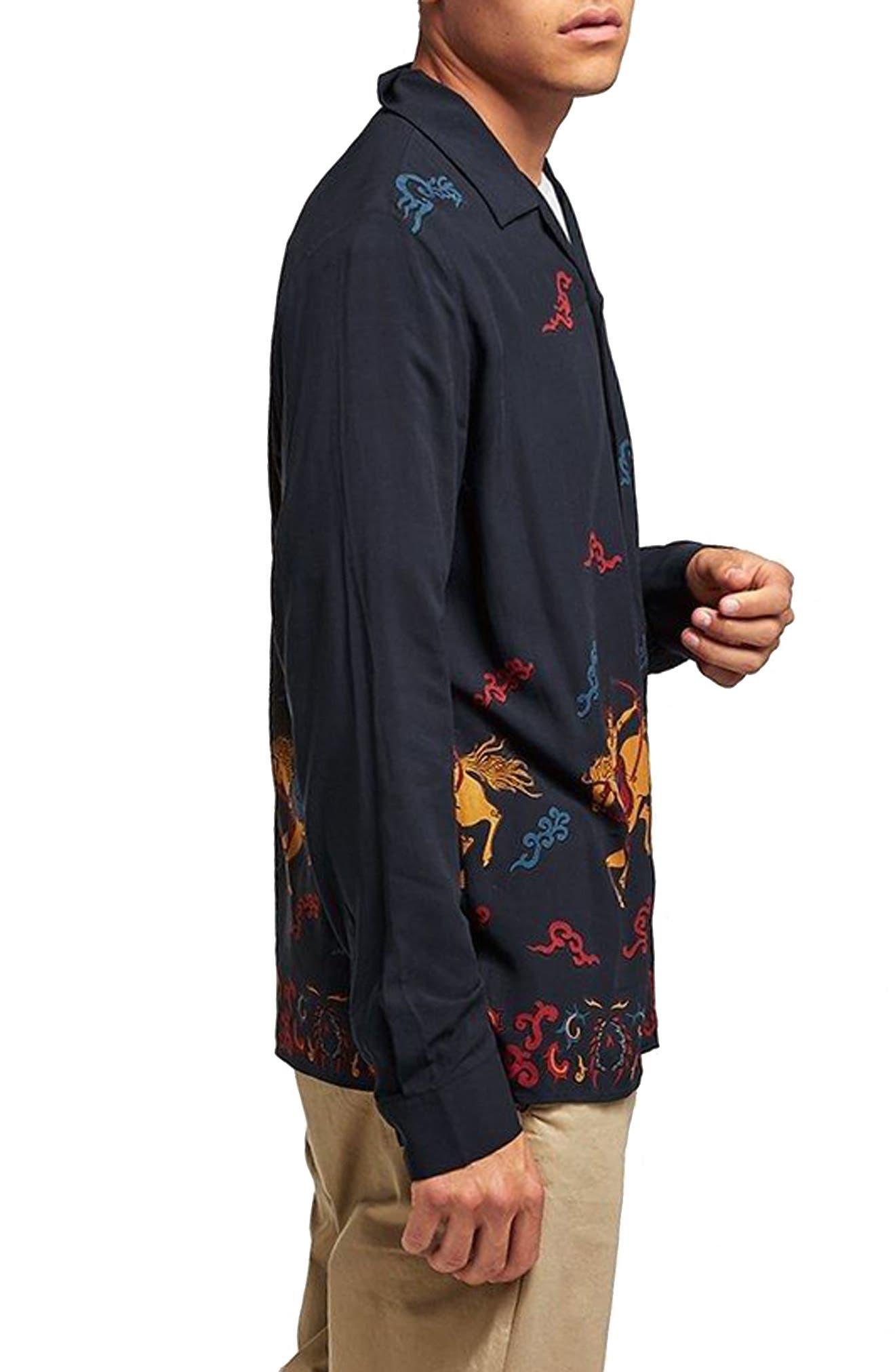 Horse Print Classic Fit Shirt,                             Alternate thumbnail 3, color,                             Navy Blue Multi