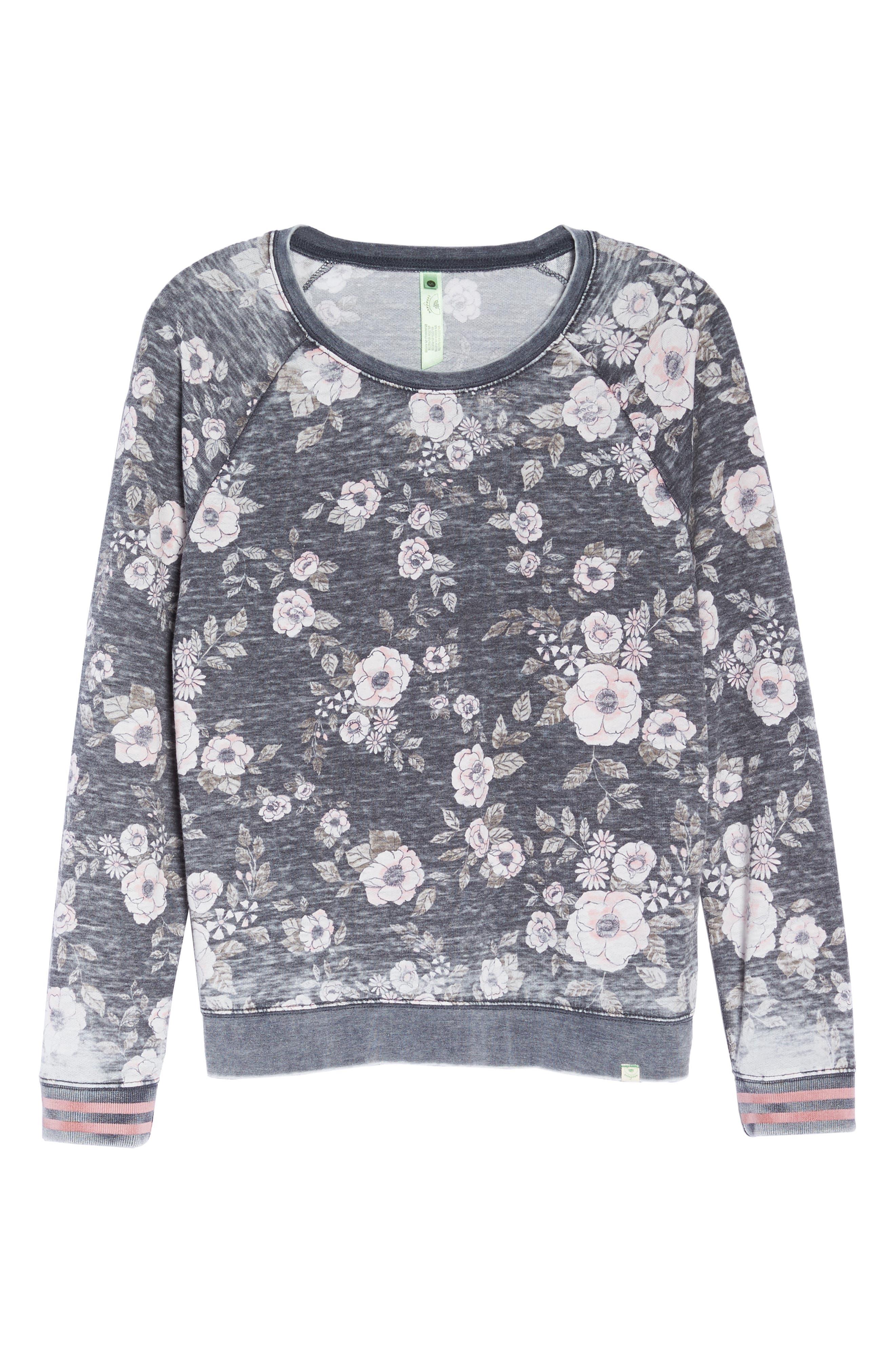 Burnout Lounge Sweatshirt,                             Alternate thumbnail 7, color,                             Pink Aura Floral