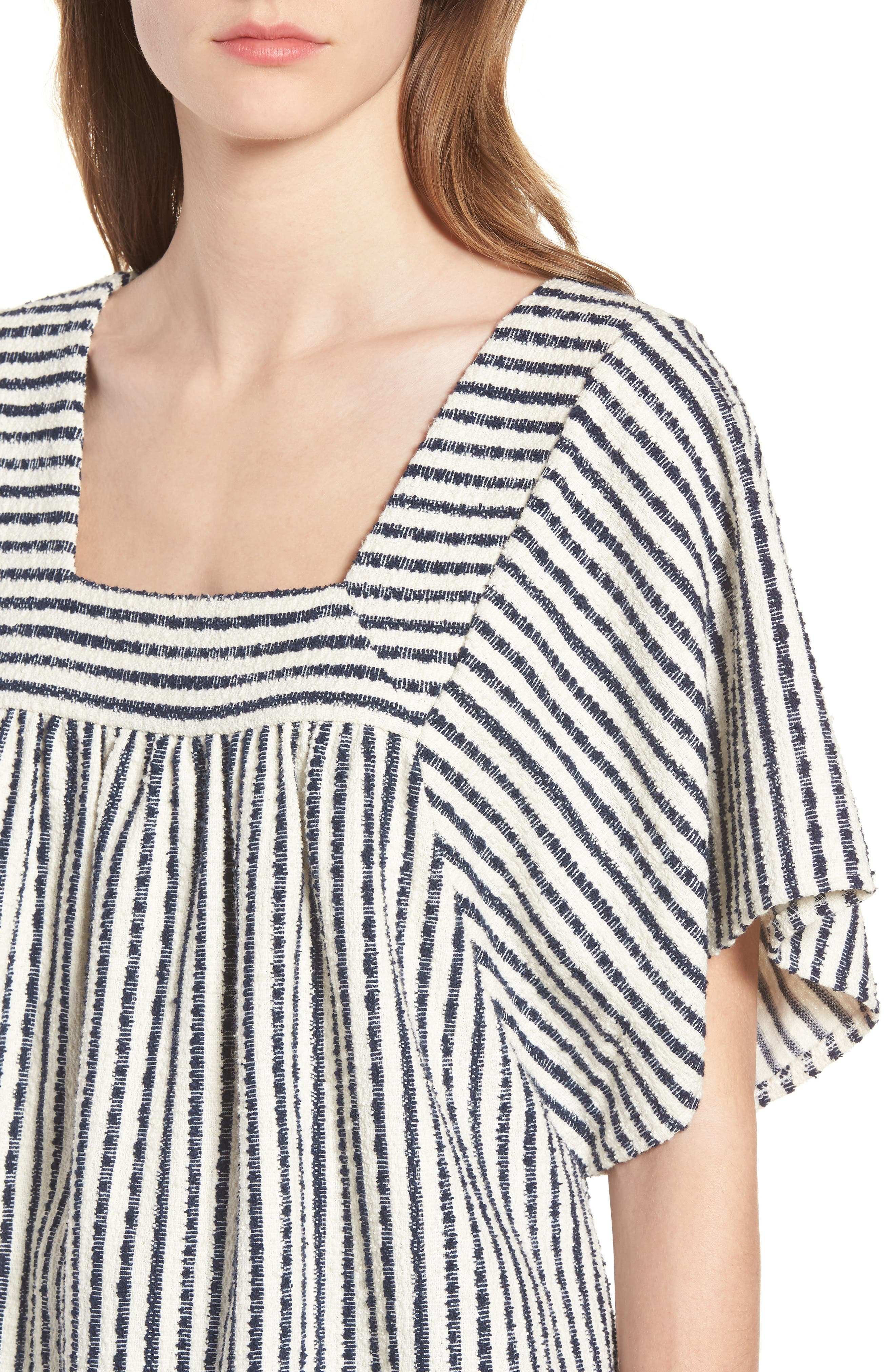 Stripe Butterfly Top,                             Alternate thumbnail 4, color,                             Bright Ivory