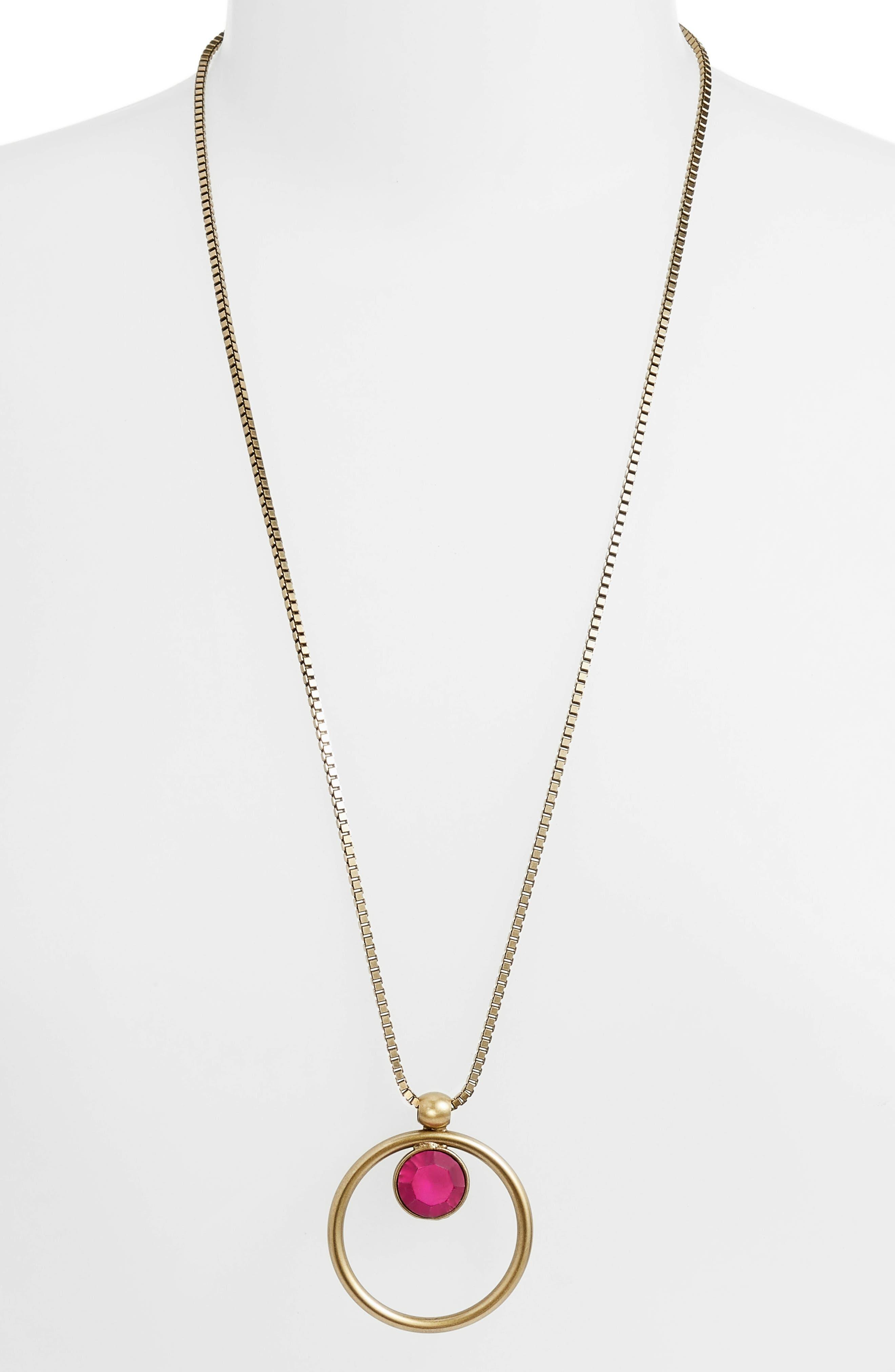 Cecilia Box Chain Necklace,                         Main,                         color, Fuchsia