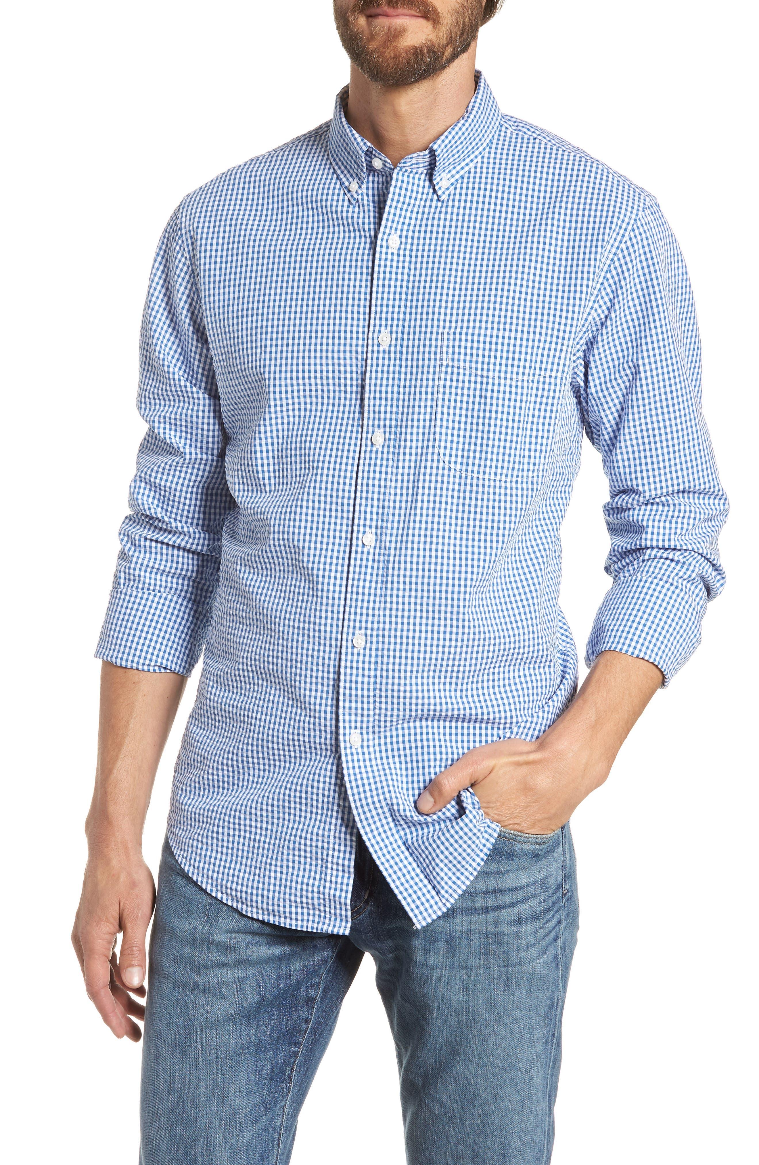 Slim Fit Gingham Seersucker Sport Shirt,                         Main,                         color, Calm Lagoon