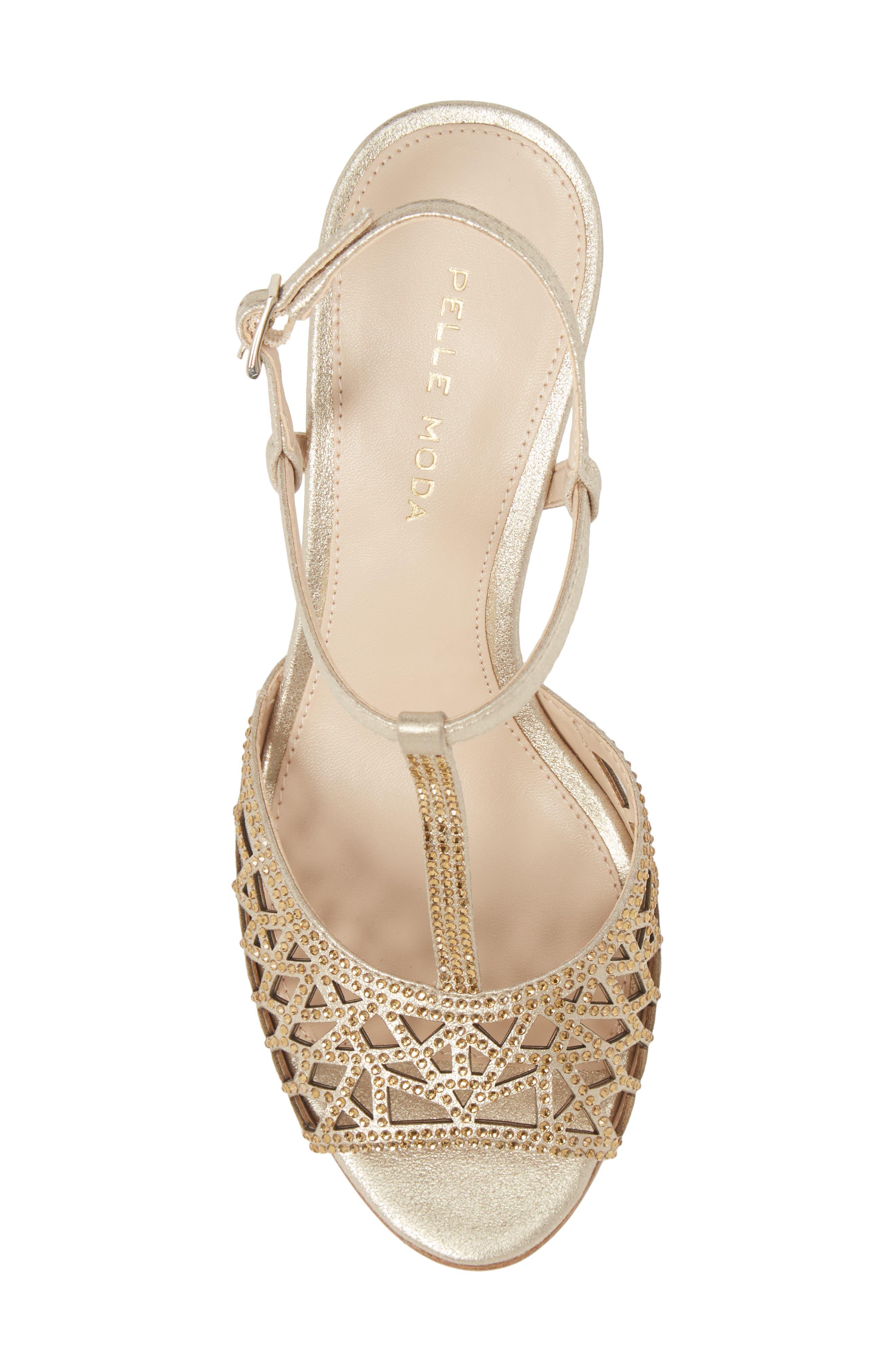 Adaline Embellished Sandal,                             Alternate thumbnail 5, color,                             Platinum Gold Metallic Suede