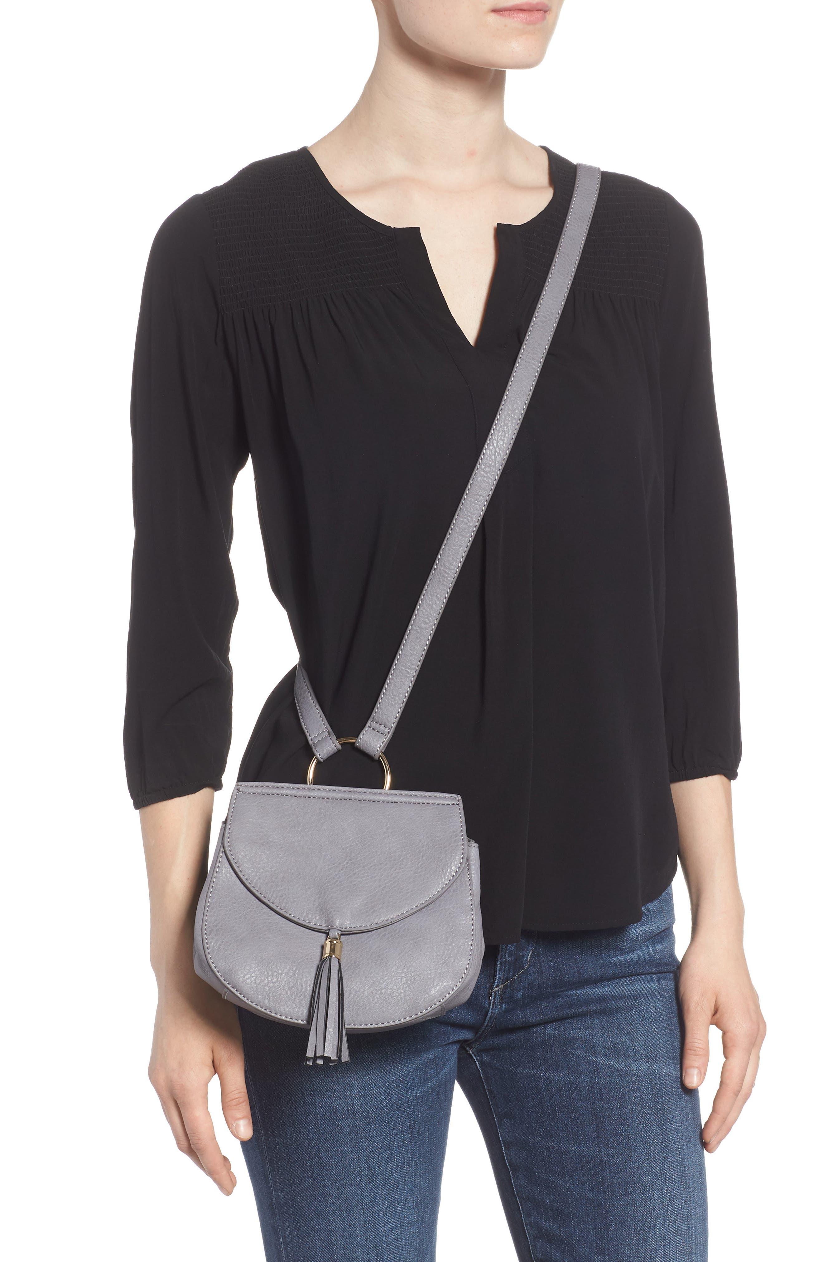 Tassel Faux Leather Crossbody Saddle Bag,                             Alternate thumbnail 2, color,                             Grey