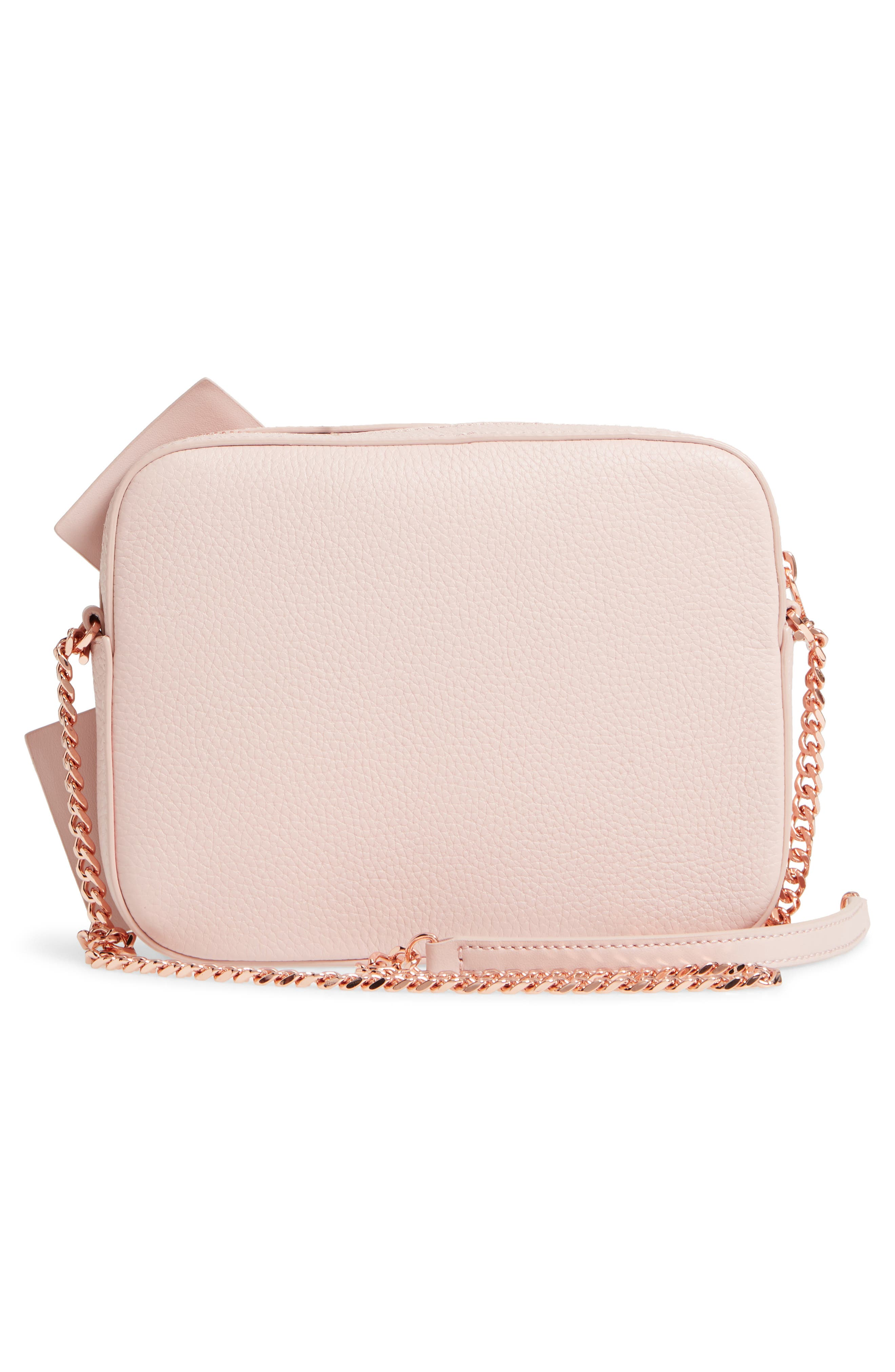 Giant Knot Leather Camera Bag,                             Alternate thumbnail 3, color,                             Nude Pink