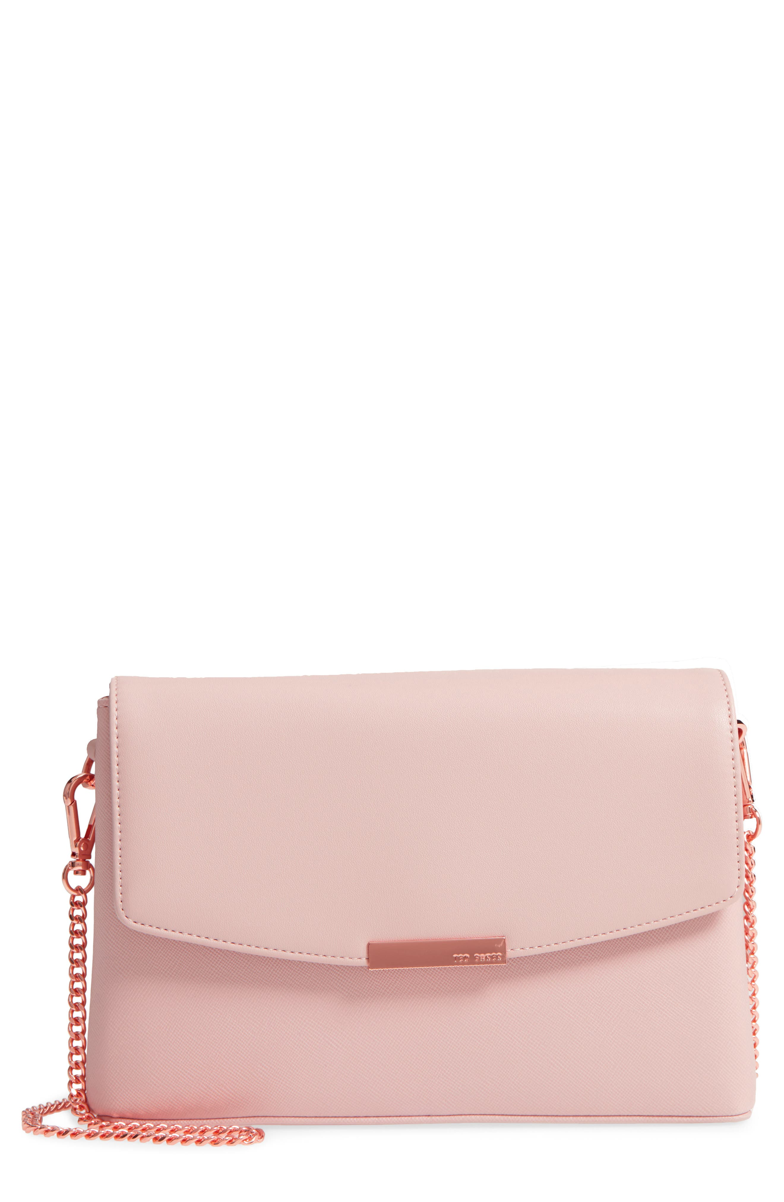 Faux Leather Crossbody Bag,                             Main thumbnail 1, color,                             Nude Pink