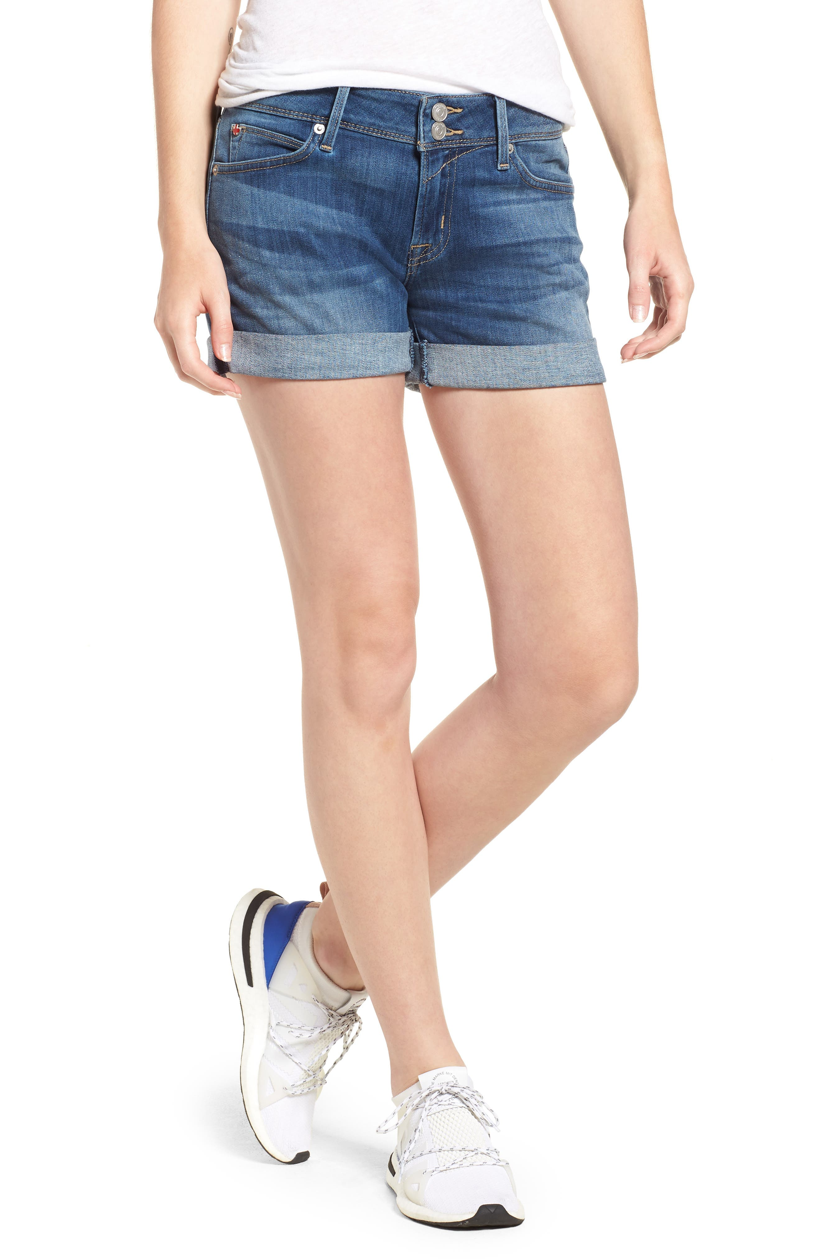 'Croxley' Cuffed Denim Shorts,                         Main,                         color, Paramour