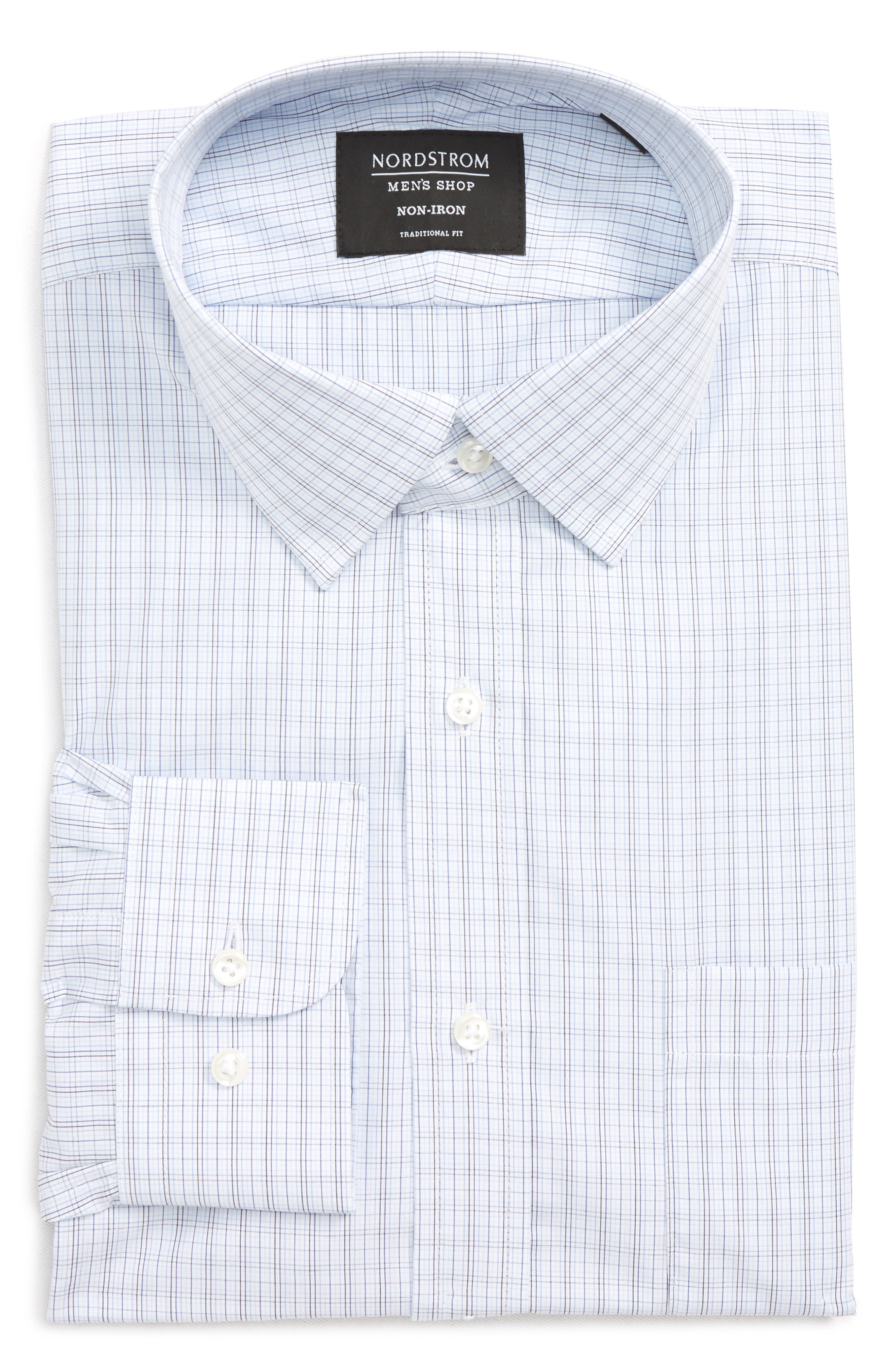 Traditional Fit Plaid Dress Shirt,                             Alternate thumbnail 6, color,                             Navy Medieval