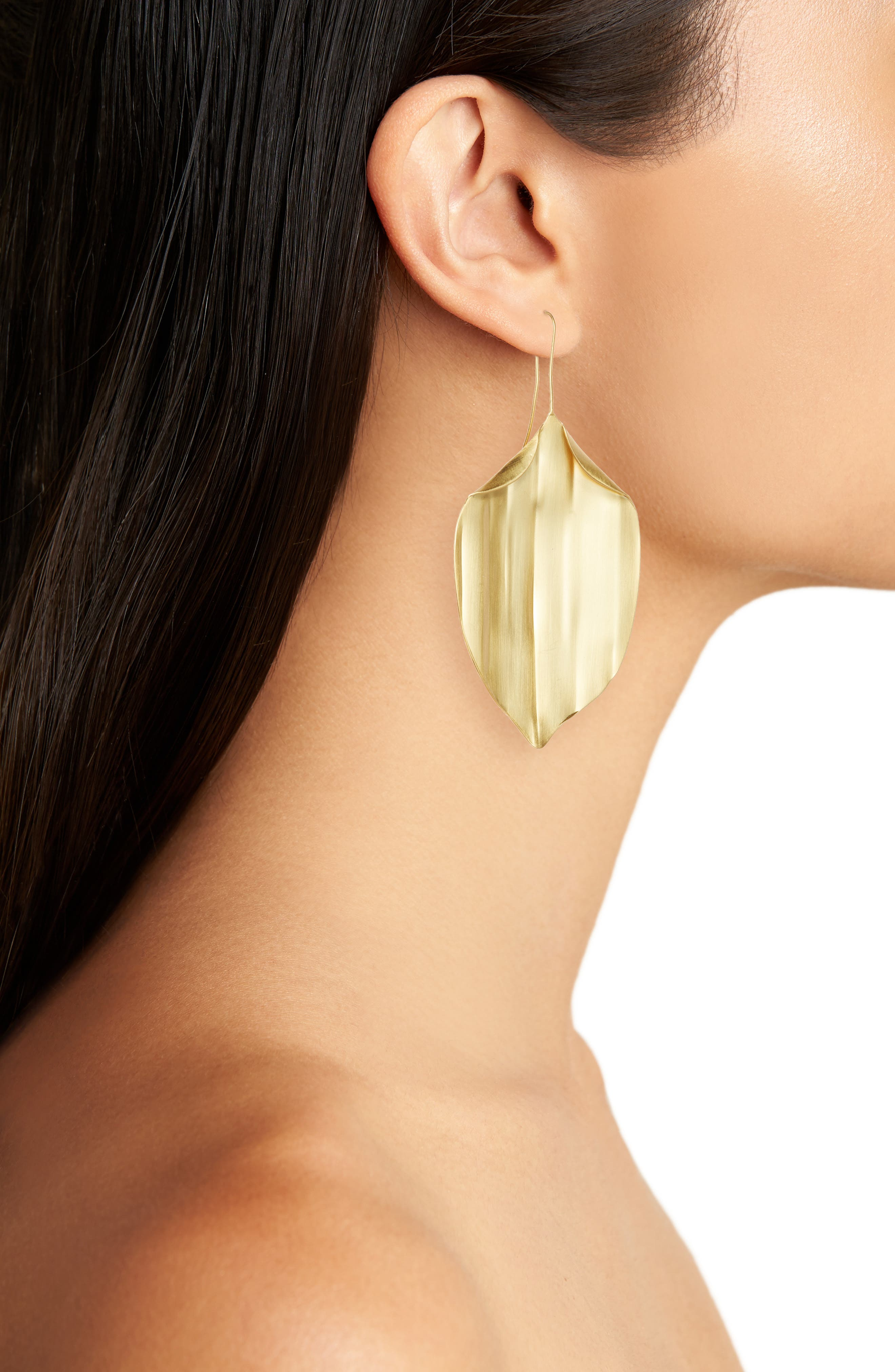 Mismatched Leaf Earrings,                             Alternate thumbnail 2, color,                             Shiny Brass
