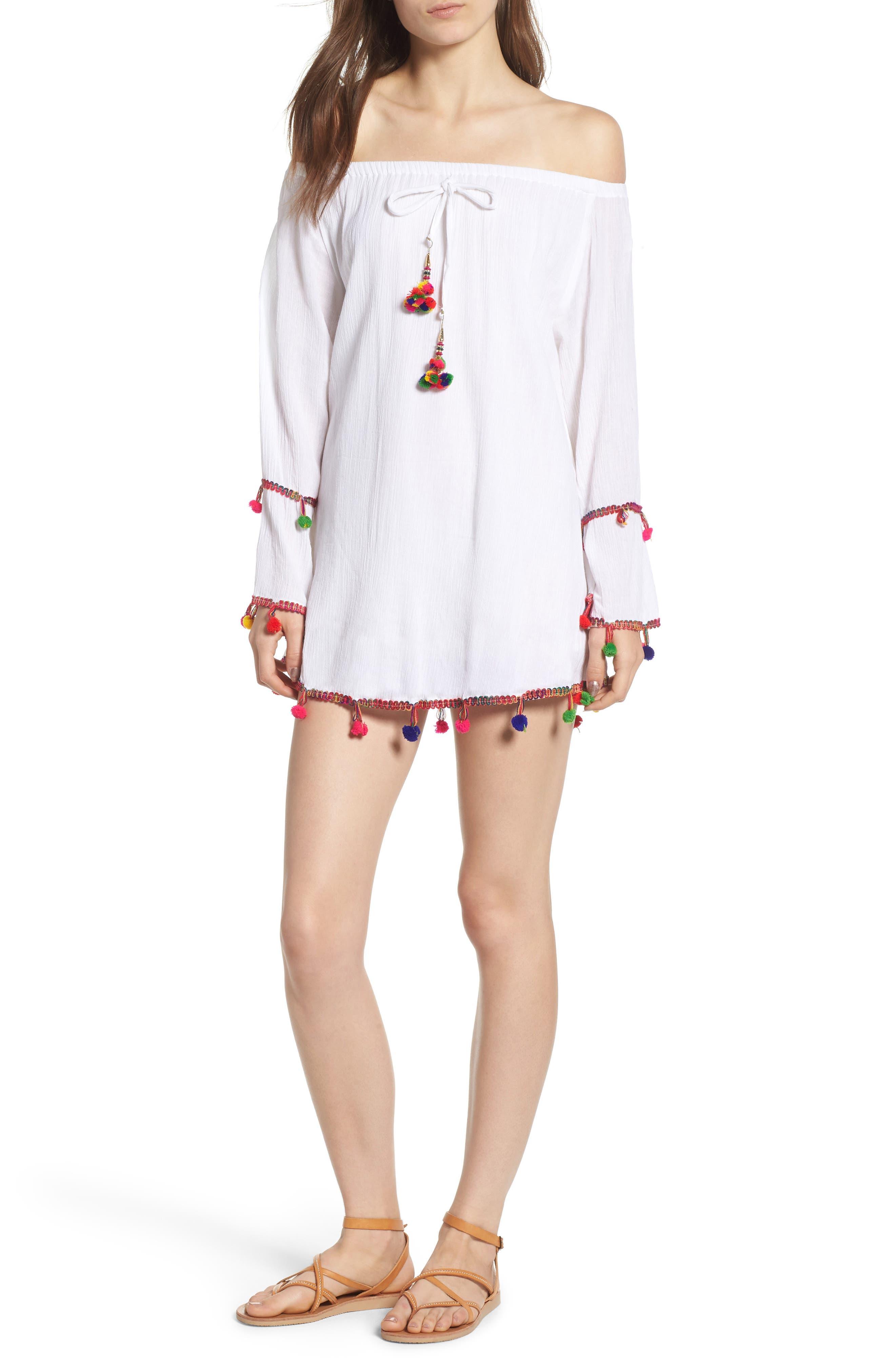 RAGA HAVANA DAZE POMPOM OFF THE SHOULDER DRESS