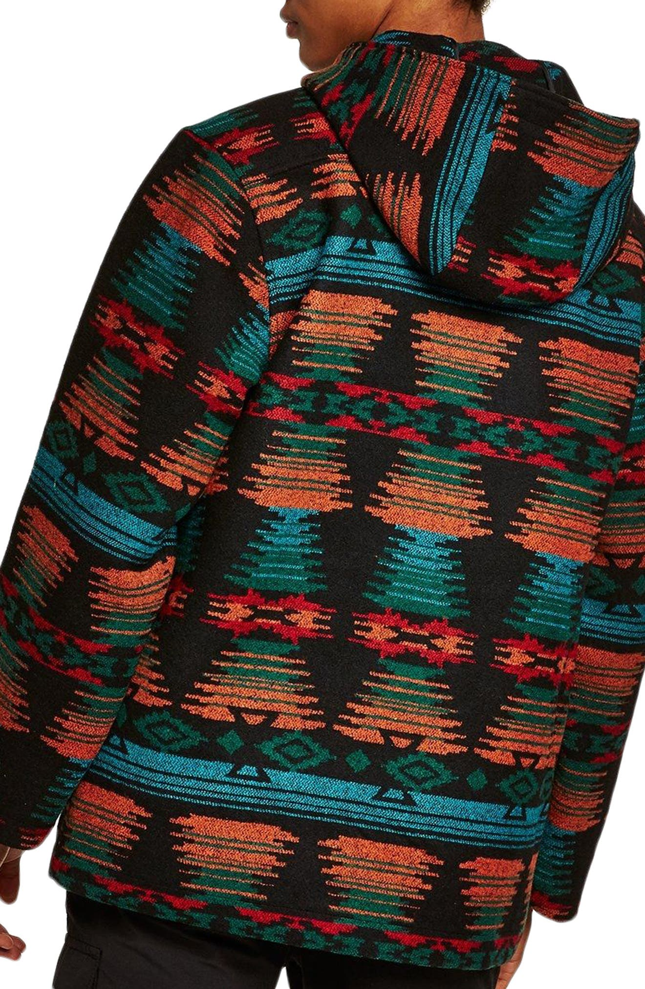Jacquard Hooded Jacket,                             Alternate thumbnail 2, color,                             Black Multi