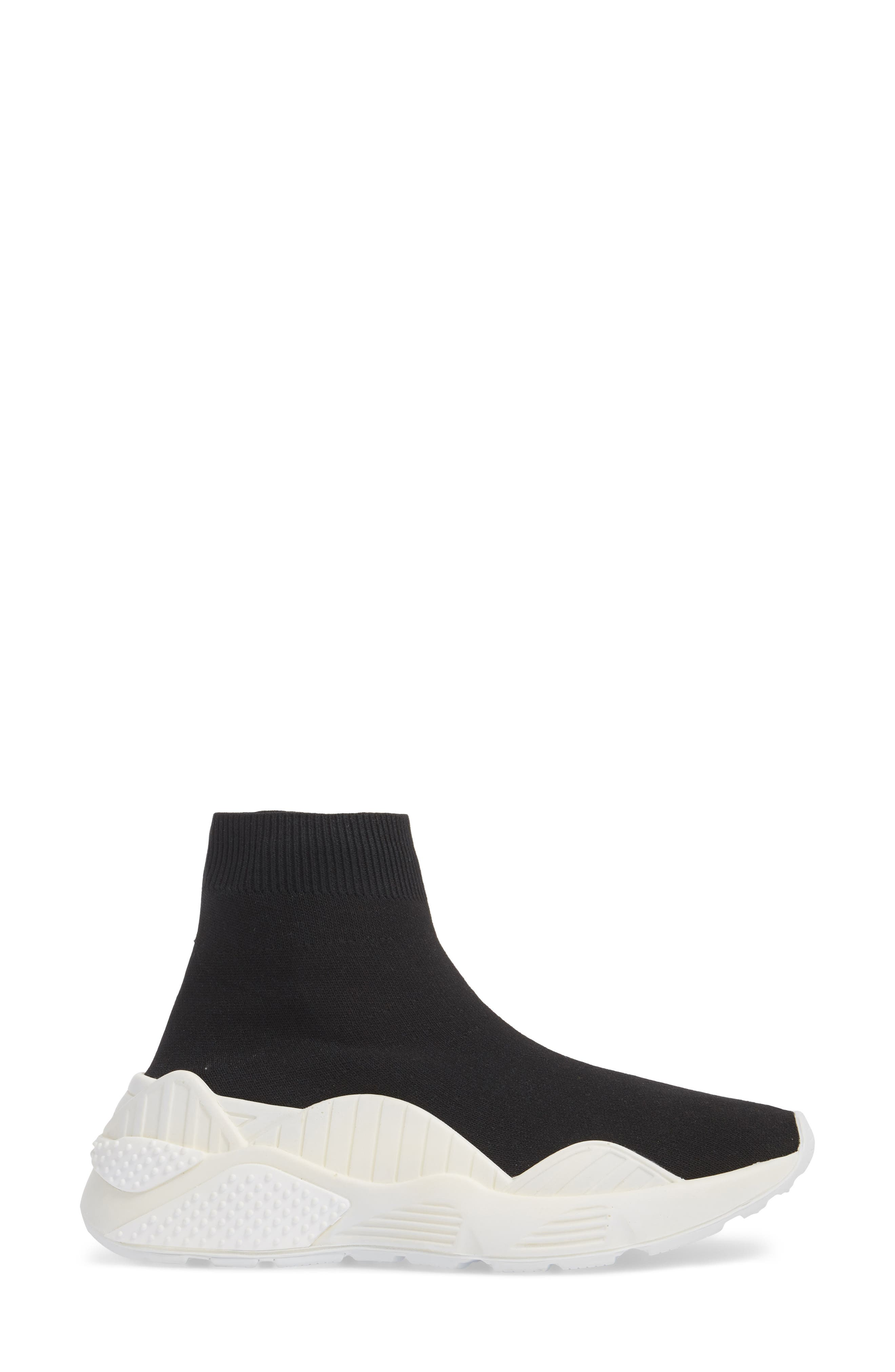 Lunix Sock Sneaker,                             Alternate thumbnail 3, color,                             Black/ White Leather