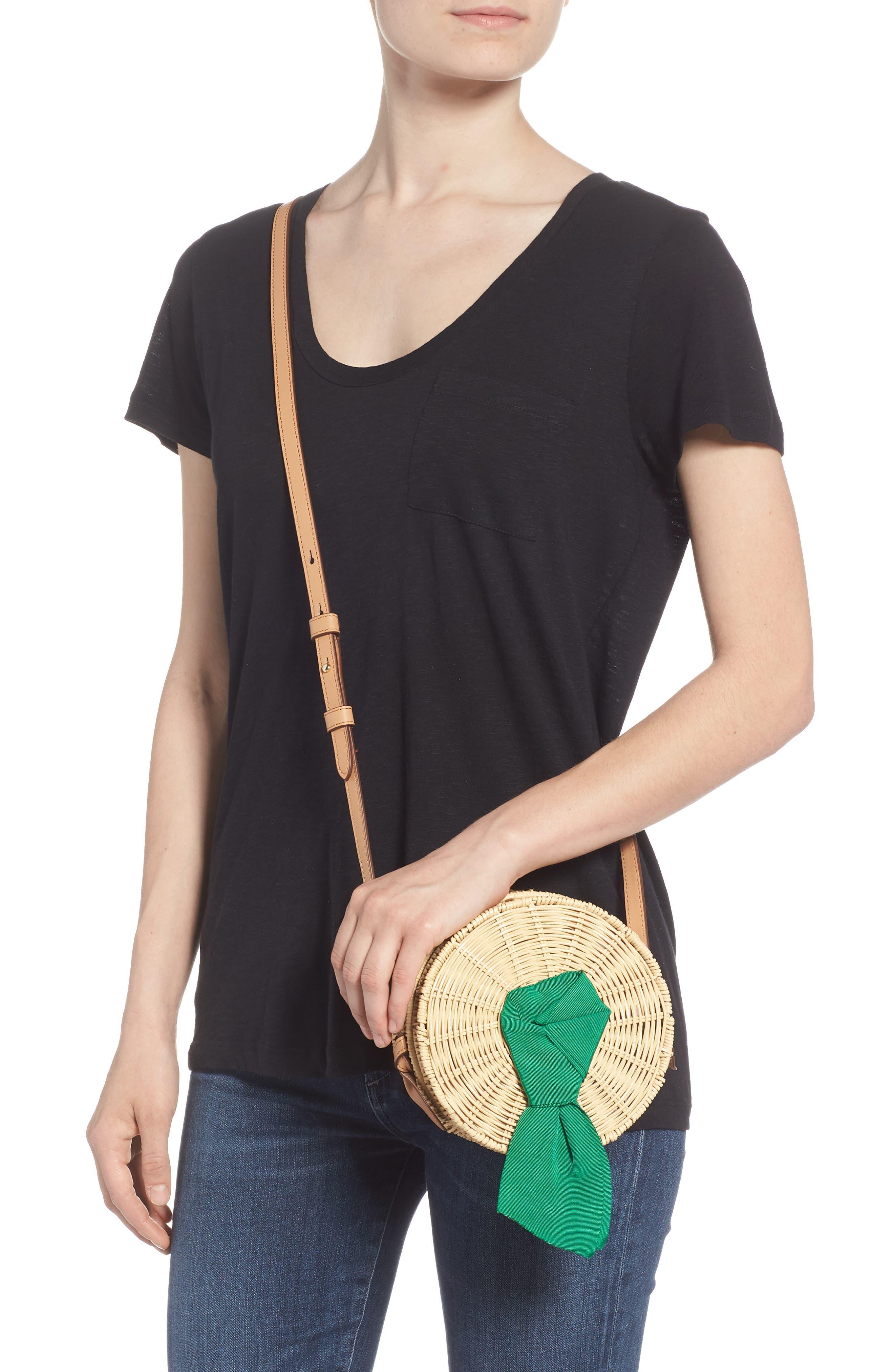 Paige Woven Rattan Crossbody Bag,                             Alternate thumbnail 2, color,                             Palm
